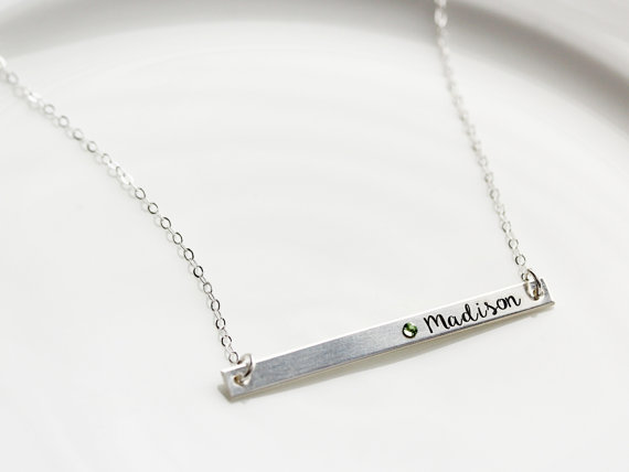 Tom Design - Bridesmaid Gift Engraved Bar Necklaces