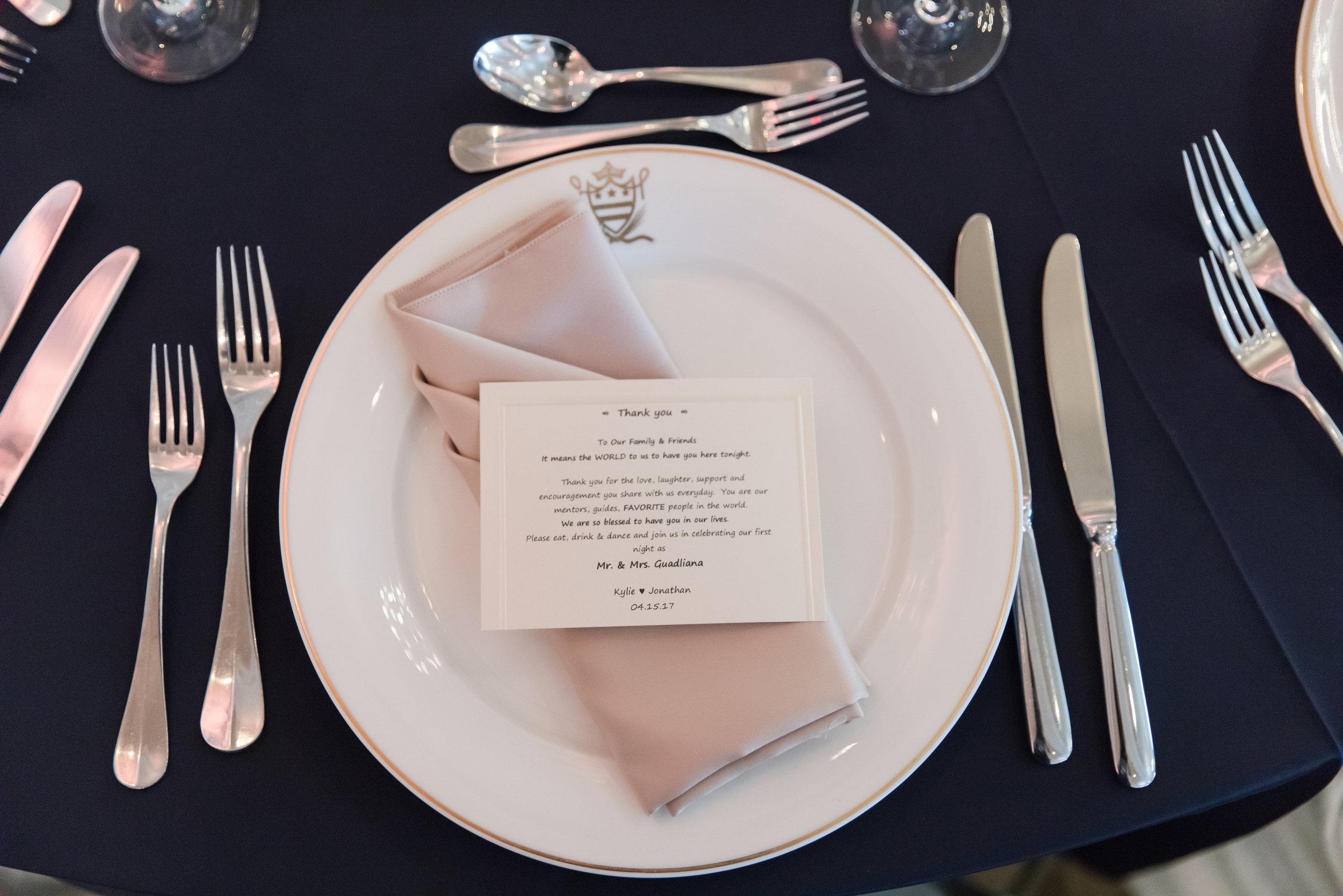 Place Setting Thank You Card - A Classic George Washington Hotel Wedding - Photography by Marirosa