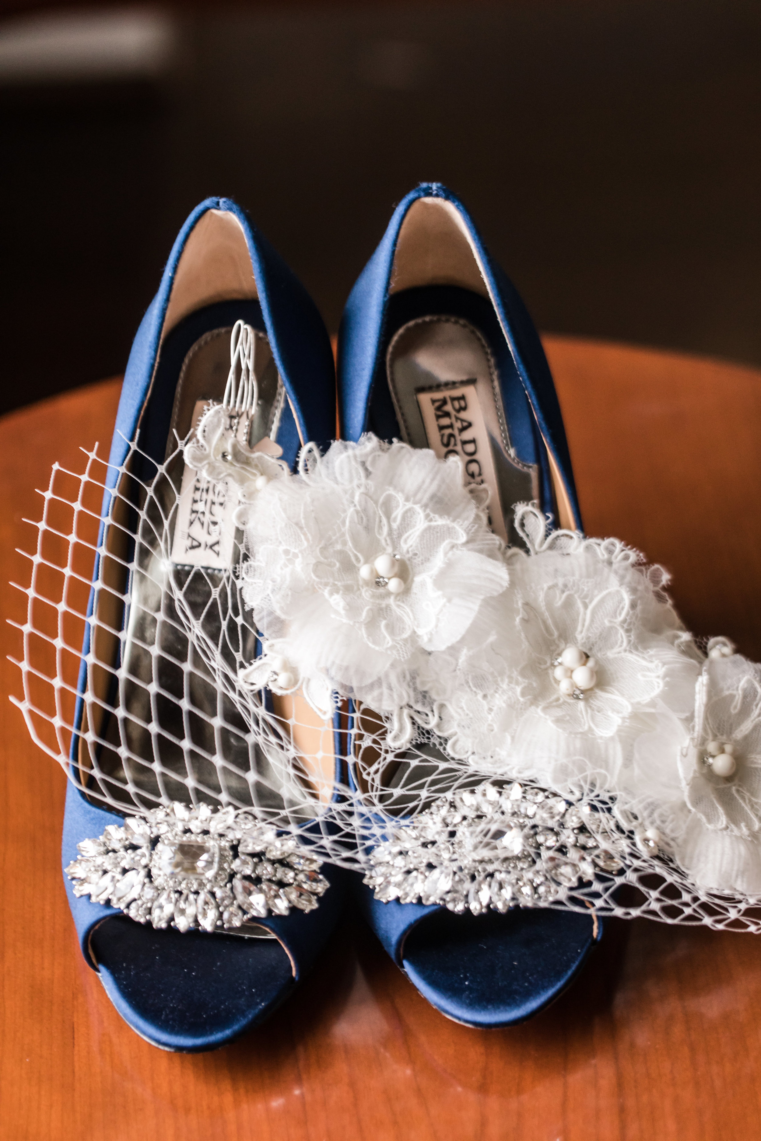 Blue Wedding Bridal Shoes - Badgley Mischka - A Classic George Washington Hotel Wedding - Photography by Marirosa