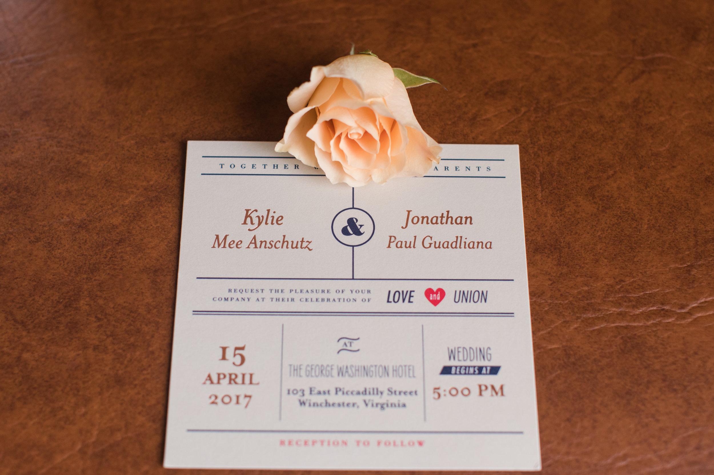 Unique Postcard Style Wedding Invitation - A Classic George Washington Hotel Wedding - Photography by Marirosa