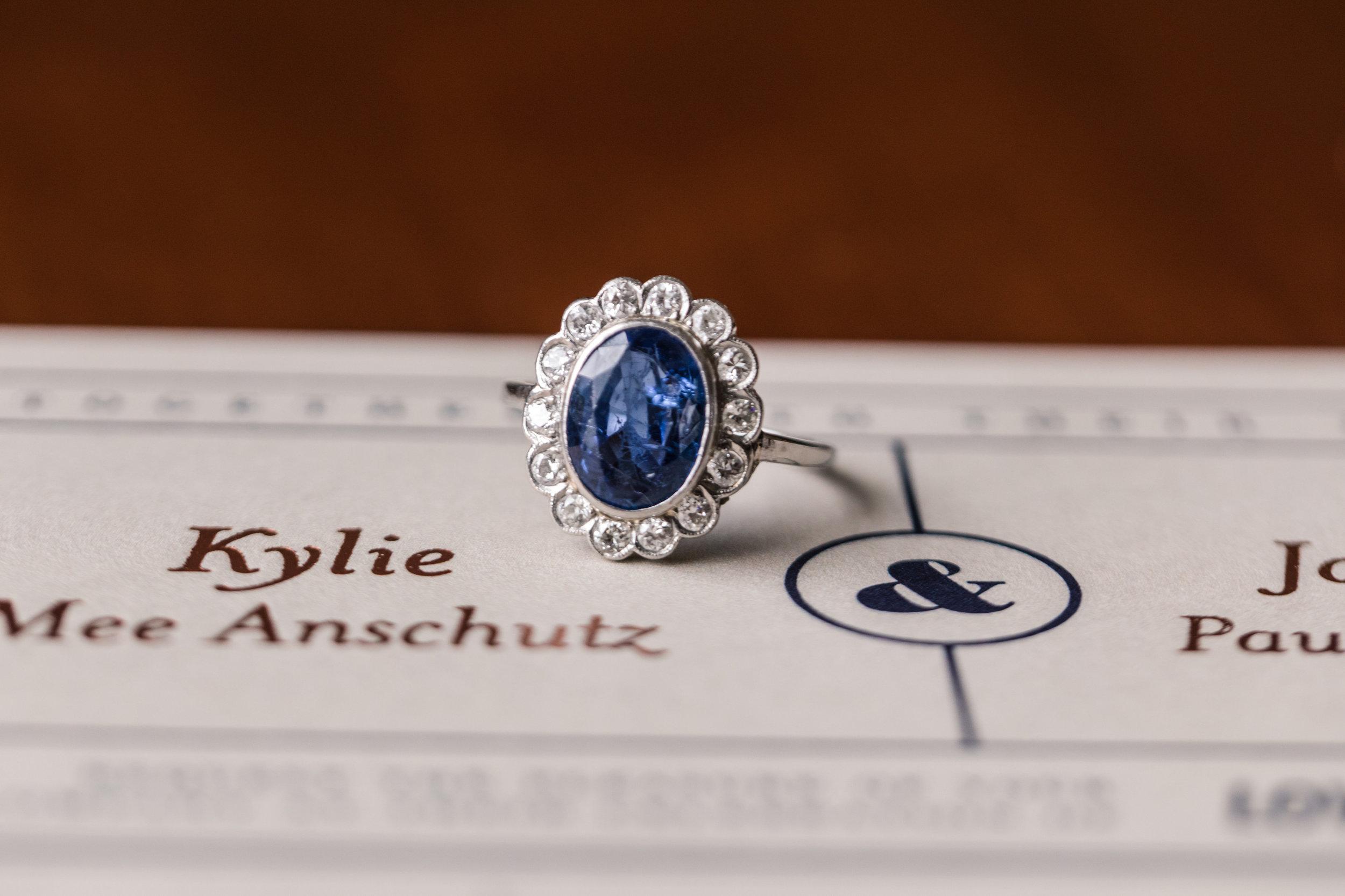 Blue Halo Vintage Engagement Ring - A Classic George Washington Hotel Wedding - Photography by Marirosa