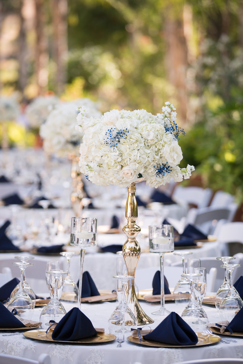 Navy Blue and Gold Wedding Place Setting - A Blue + Gold Rancho El Toro Courtyard Wedding - Oana Foto