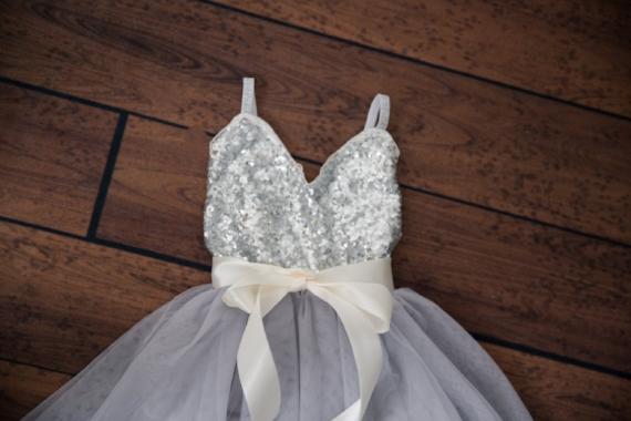 Grey Tulle Poofy Flower Girl Dresses