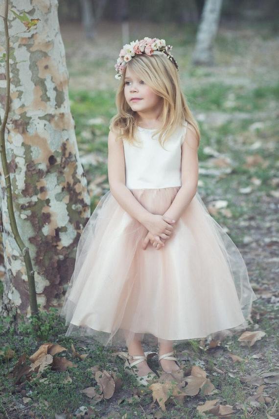 Blush-Light Pink Tulle Poofy Flower Girl Dresses