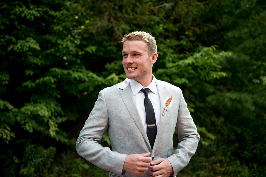 Light Grey Groom Suit - Catskills Hunter Mountain Bohemian Wedding - Custom by Nicole Photography