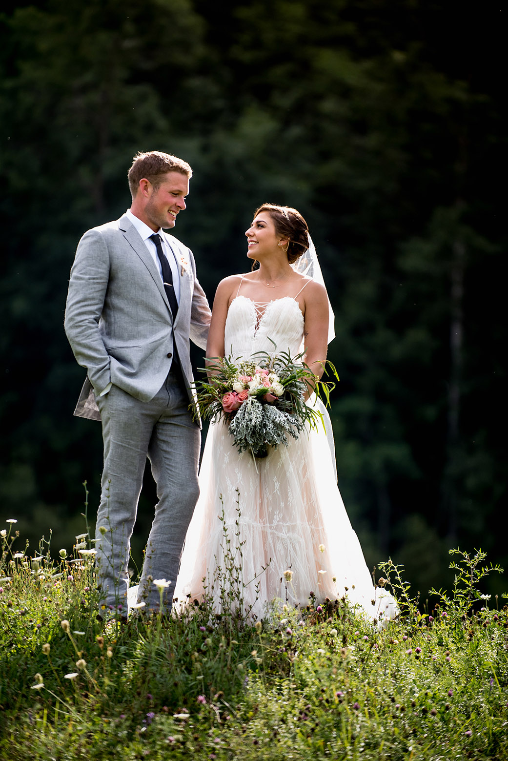 Gorgeous Open Field Wedding Photos - Catskills Hunter Mountain Bohemian Wedding - Custom by Nicole Photography