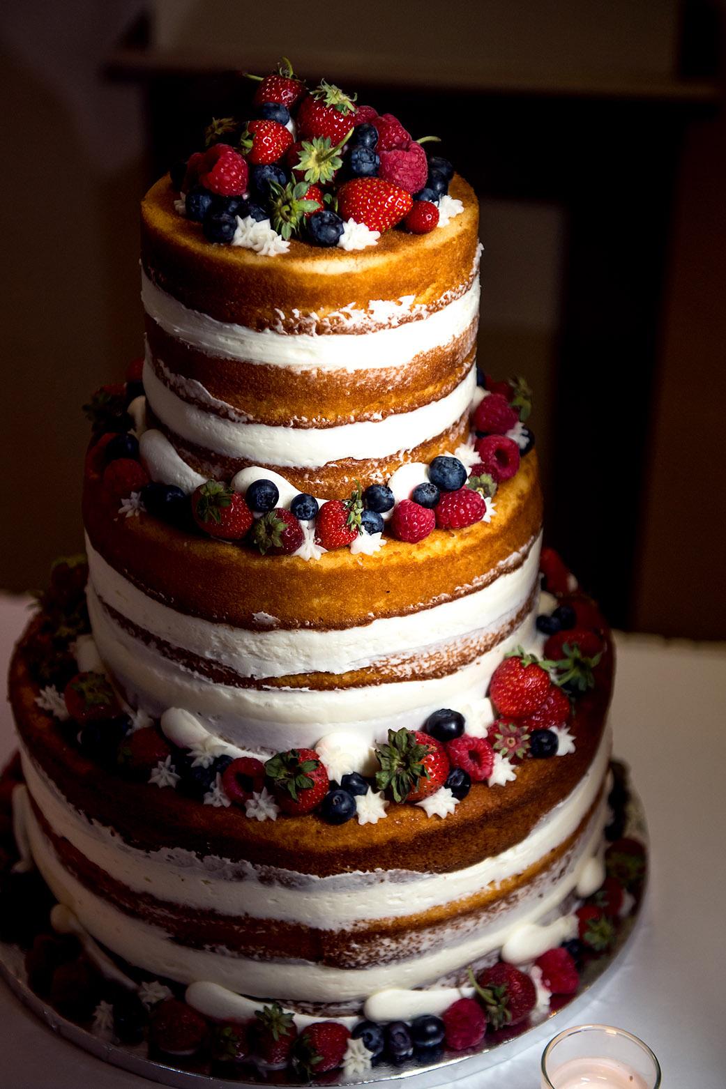 Boho Naked Wedding Cake - Catskills Hunter Mountain Bohemian Wedding - Custom by Nicole Photography