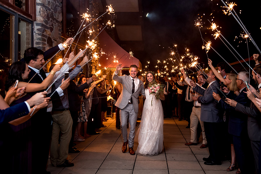 Wedding Sparkler Exit -Catskills Hunter Mountain Bohemian Wedding - Custom by Nicole Photography