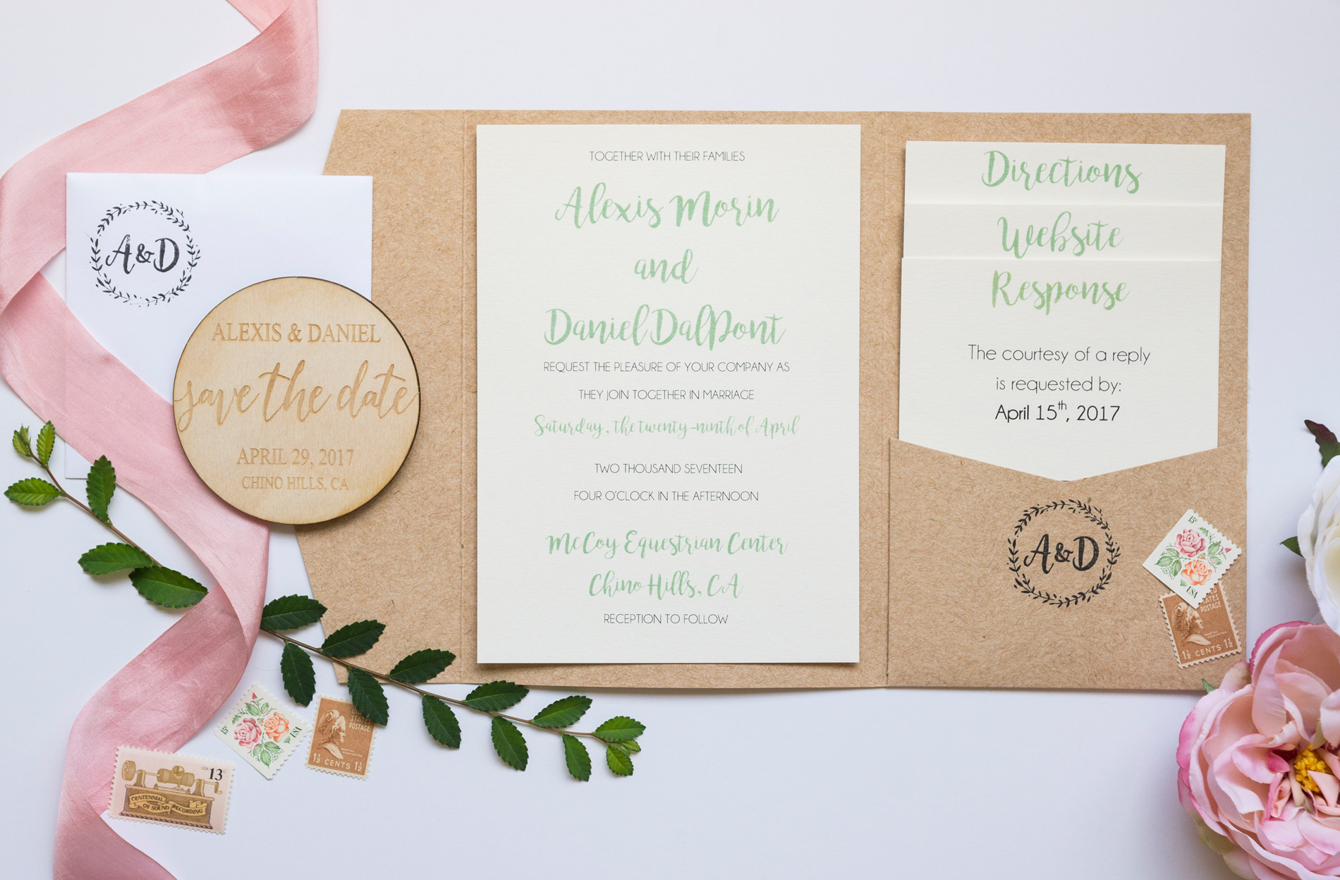 Neutral Cork Wedding invitations - A McCoy Equestrian Center Wedding - Peterson Design & Photography
