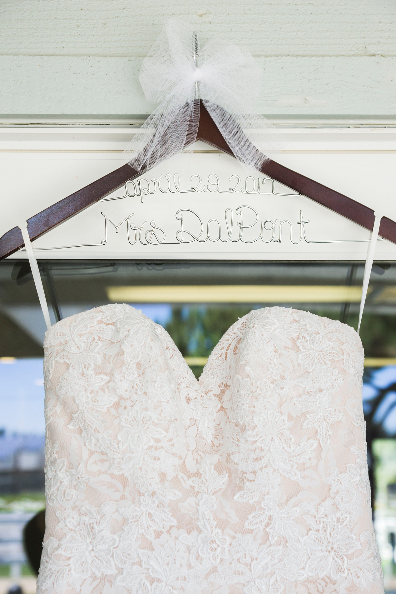 Personalized Bride Wire Hanger - A McCoy Equestrian Center Wedding - Peterson Design & Photography