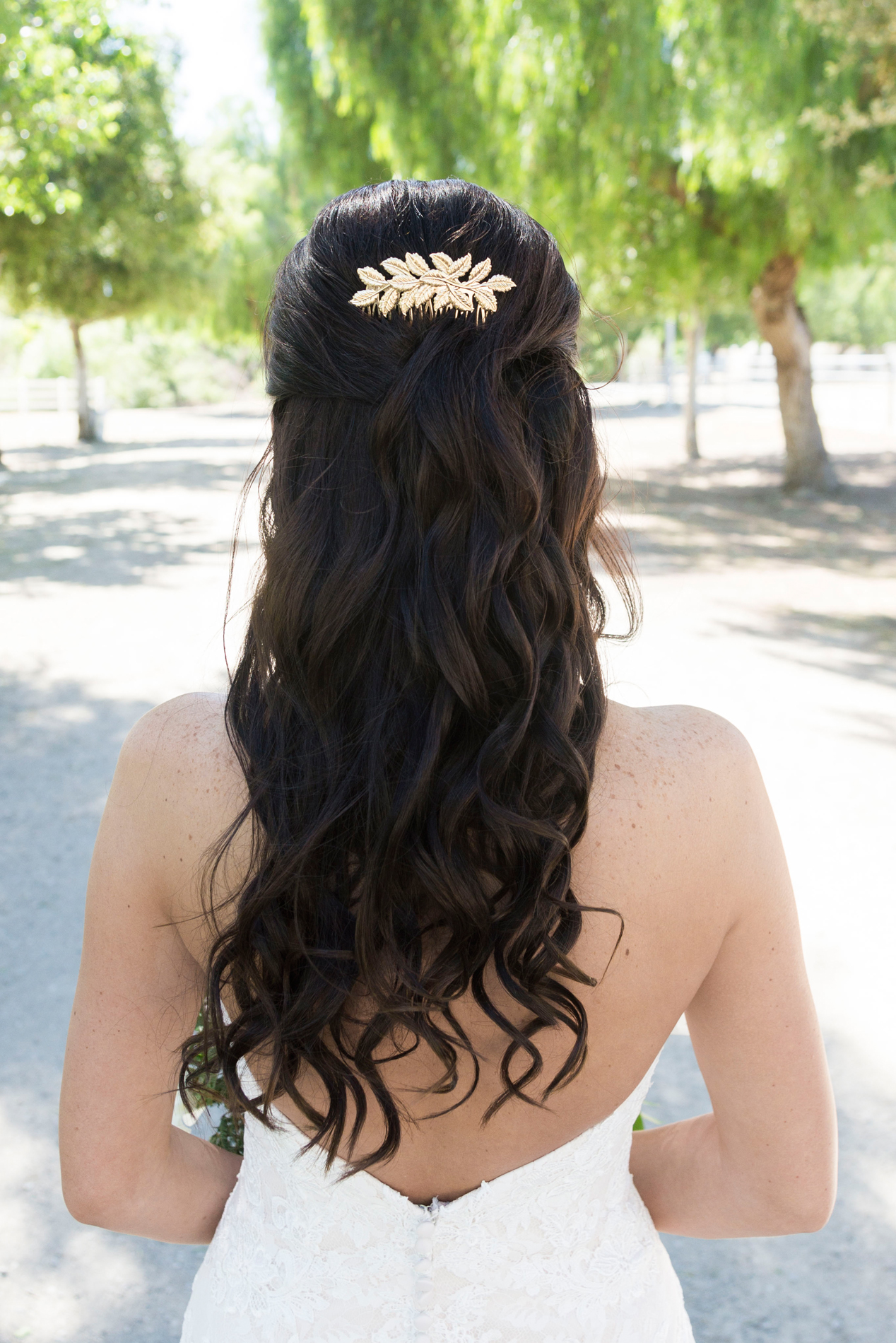 Half Up Half Down Bridal Hairstyle - A McCoy Equestrian Center Wedding - Peterson Design & Photography