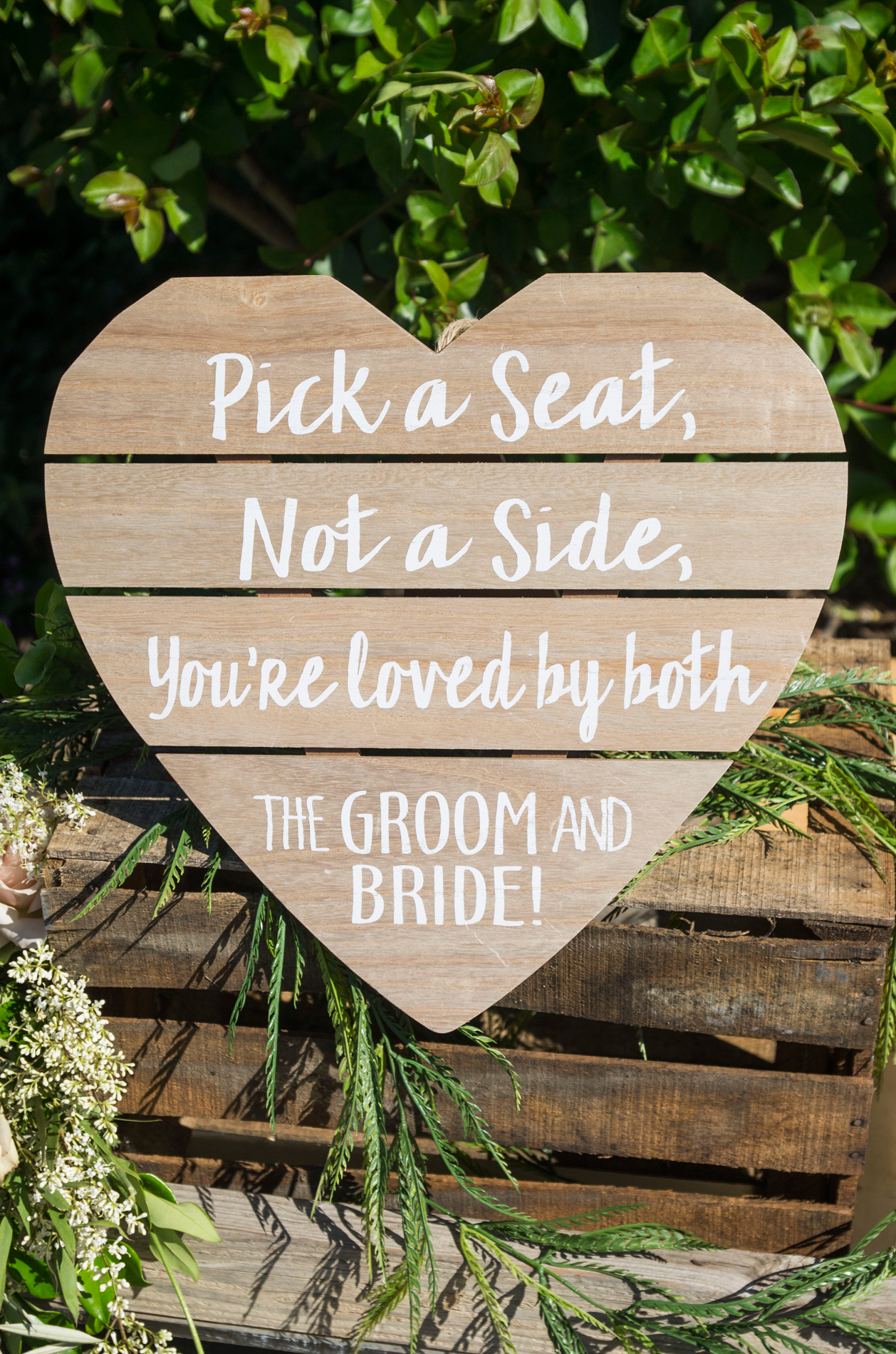 Wooden Wedding Sign - Pick A Seat Not A Side - McCoy Equestrian Center Wedding - Peterson Design & Photography