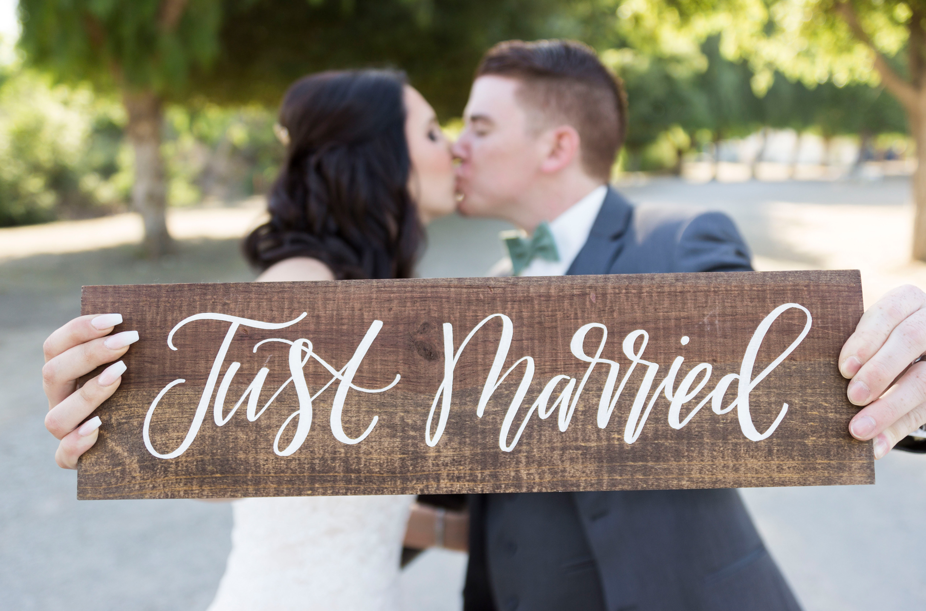 Wooden Just Married Sign - A Rustic-Vintage Glam McCoy Equestrian Center Wedding - Peterson Design & Photography
