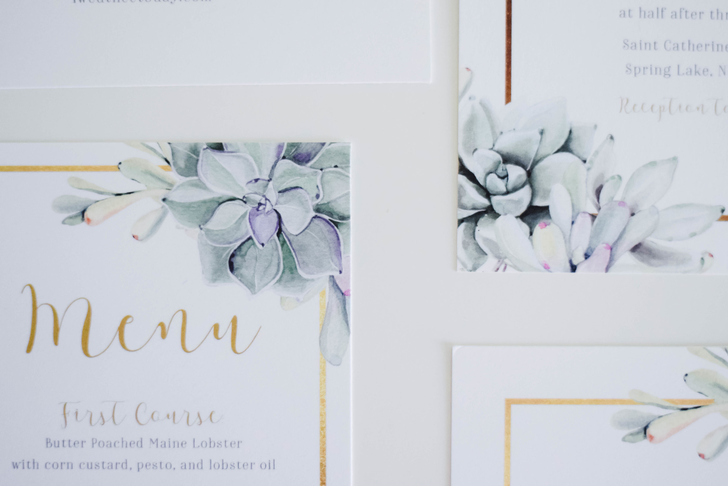 The Bridal Boutique | Succulent Wedding Invitation Suite - Jade Forest Design