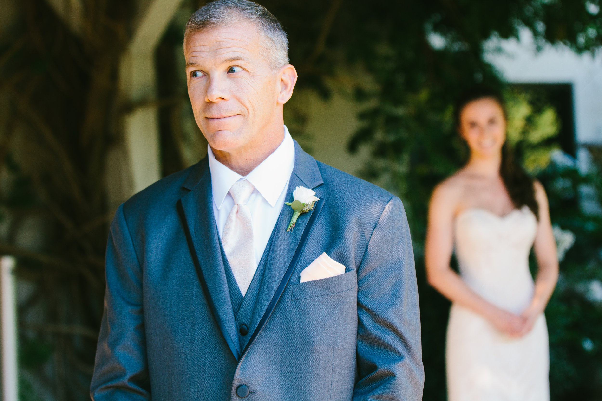 Bride and Father of the Bride First Look - A Champagne + Blush Oklahoma Wedding - Meditations Event Center - From Britt's Eye View Photography