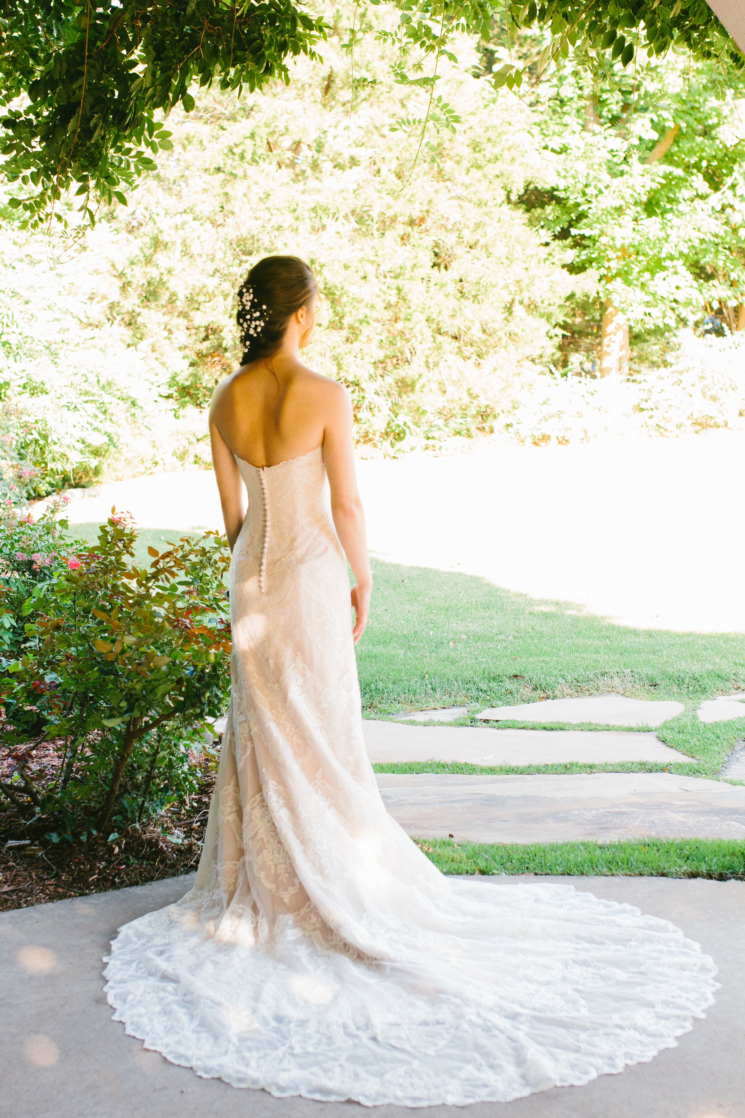 Lace Button Down Wedding Dress - A Champagne + Blush Oklahoma Wedding - Meditations Event Center - From Britt's Eye View Photography