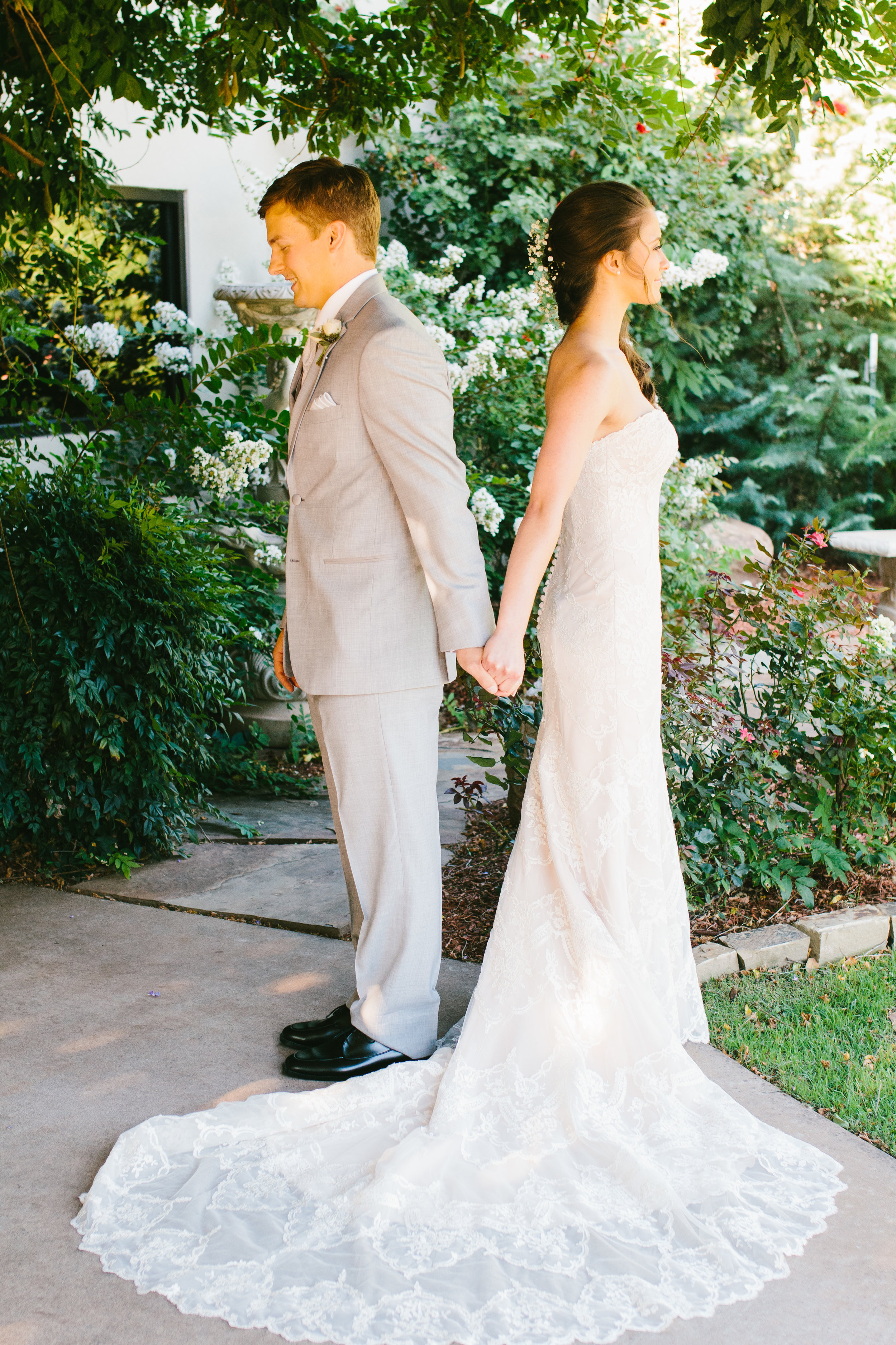 First Look PHotos - A Champagne + Blush Oklahoma Wedding - Meditations Event Center - From Britt's Eye View Photography