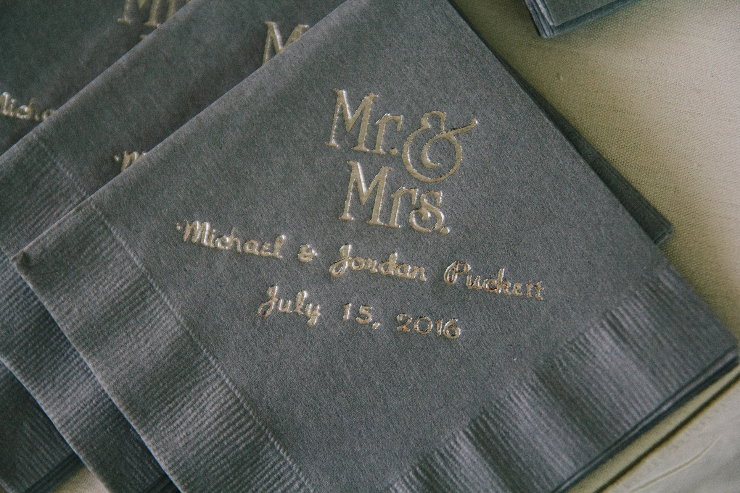 Personalized Wedding Cocktail Napkins - A Champagne + Blush Oklahoma Wedding - Meditations Event Center - From Britt's Eye View Photography
