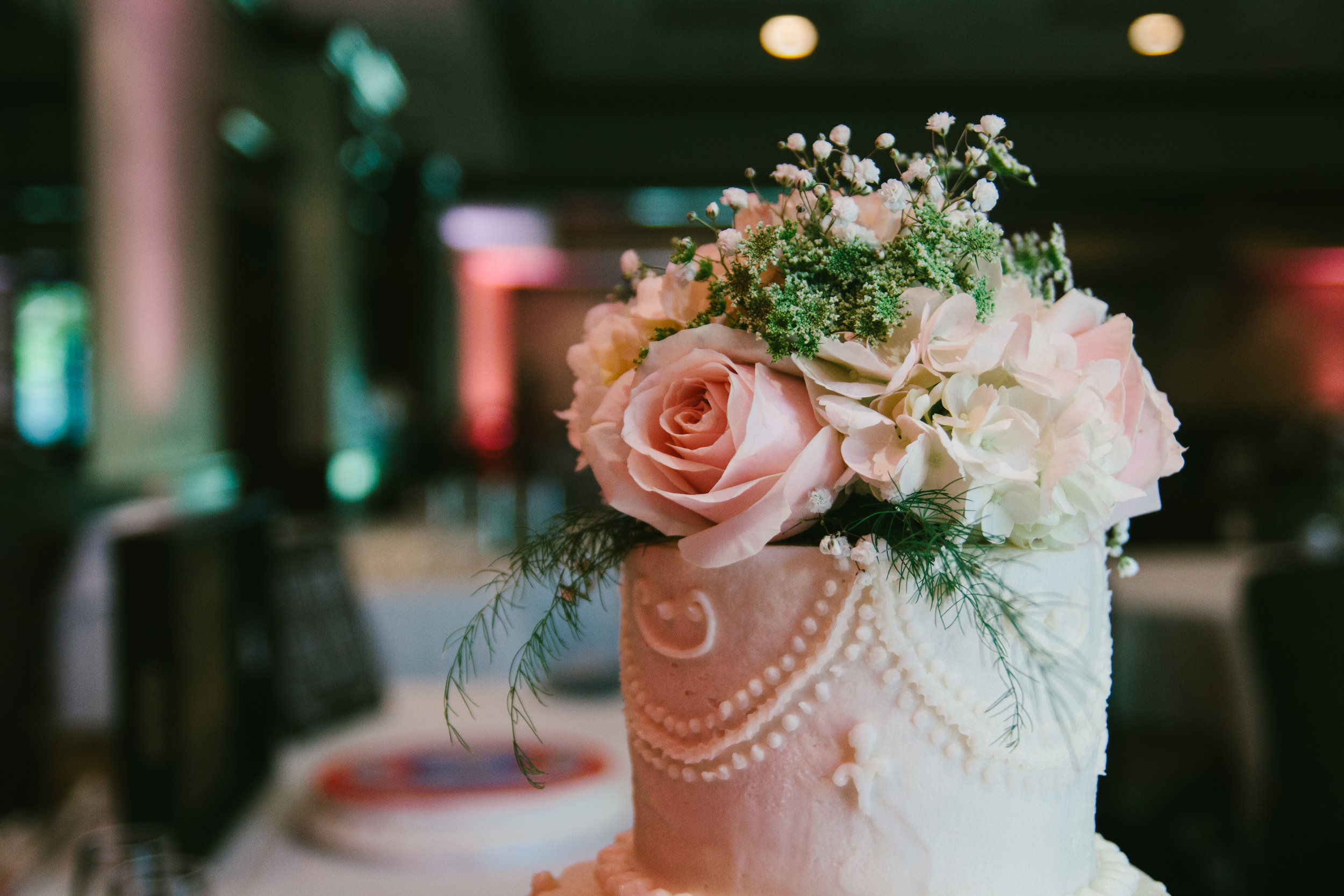 Floral Wedding Cake Topper - A Champagne + Blush Oklahoma Wedding - Meditations Event Center - From Britt's Eye View Photography