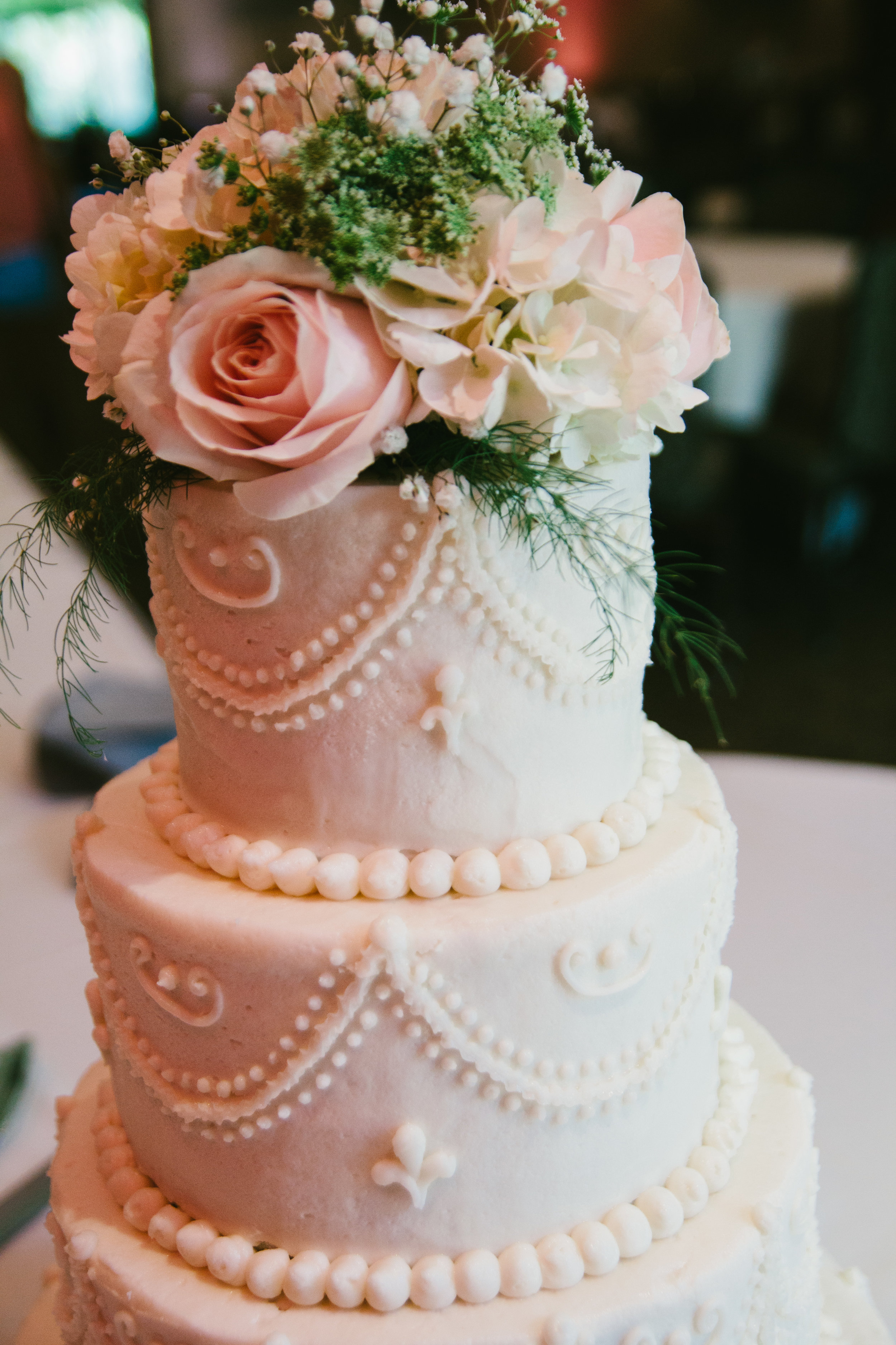 All White Round Layered Wedding Cake - A Champagne + Blush Oklahoma Wedding - Meditations Event Center - From Britt's Eye View Photography