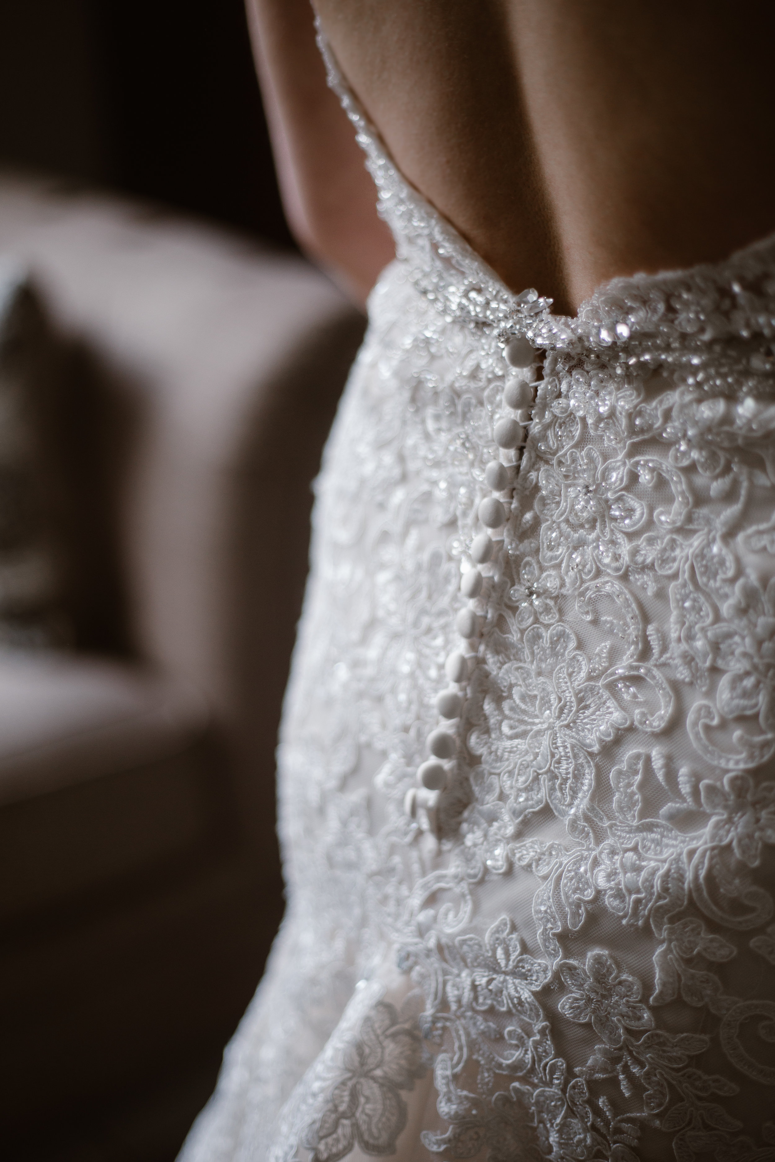Button Down mermaid Bridal Gown - A Burgundy + Bronze Ramble Creek Fall Wedding - Erin Morrison Photography