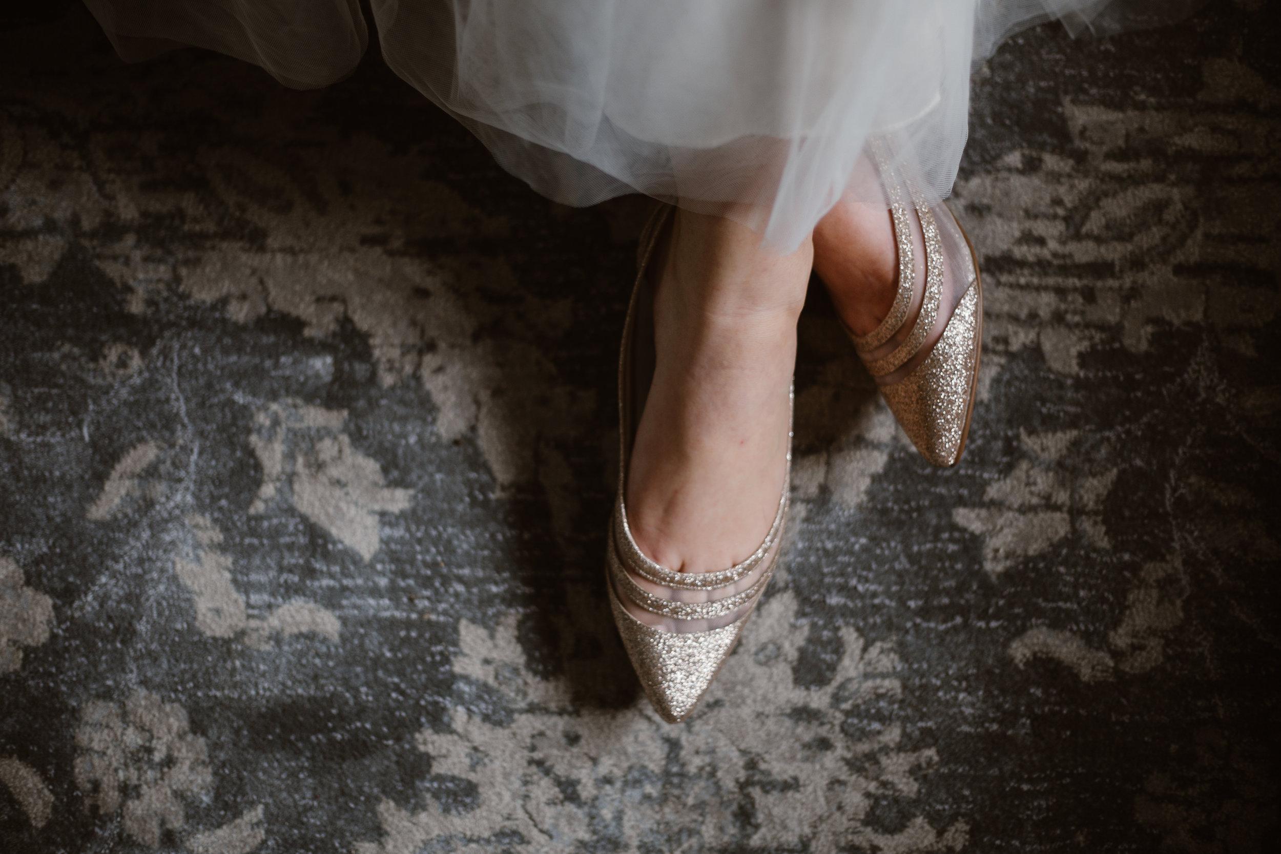 Rose Gold Bridal Flats - A Burgundy + Bronze Ramble Creek Fall Wedding - Erin Morrison Photography