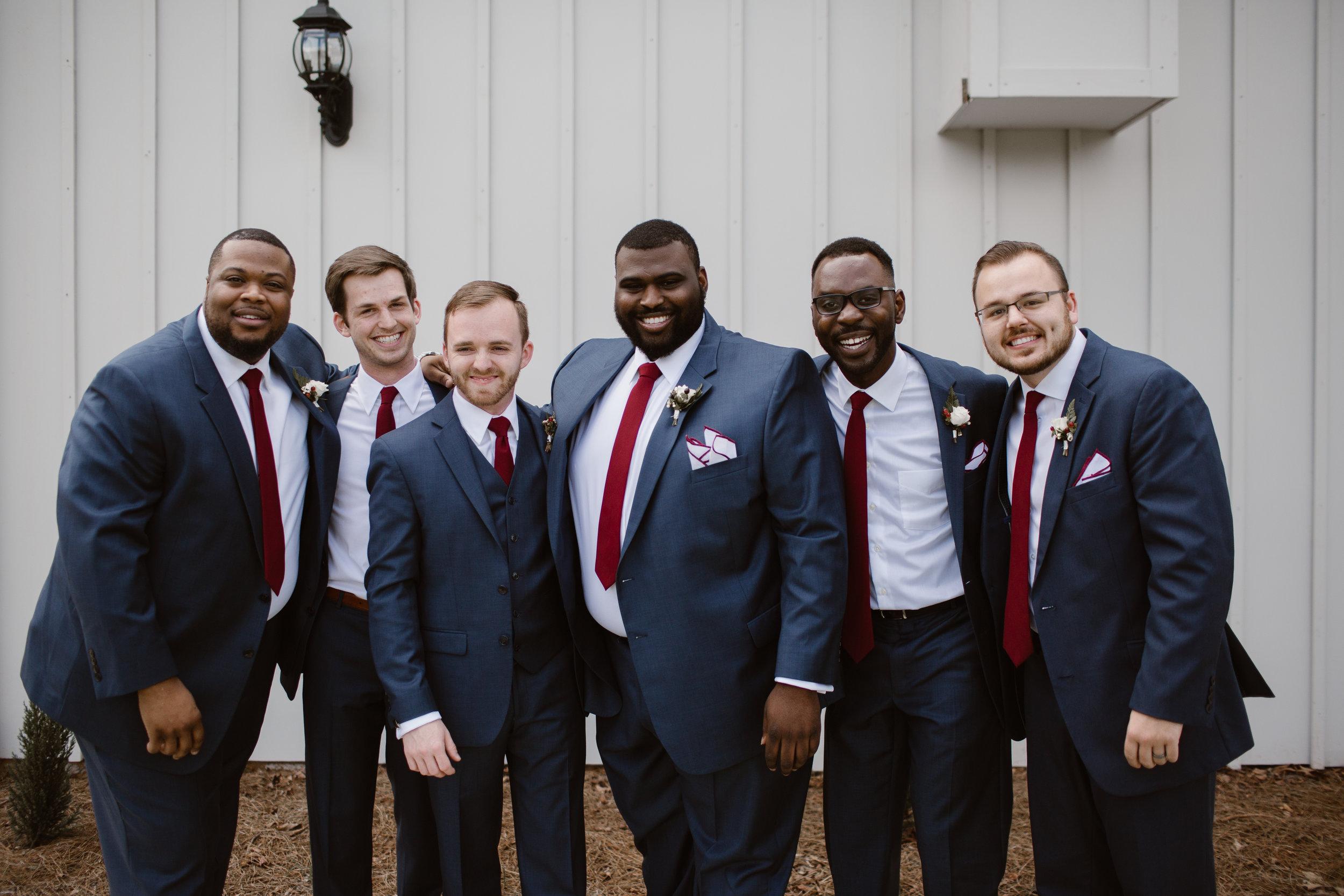 Maroon Groomsmen Ties - A Burgundy + Bronze Ramble Creek Fall Wedding - Erin Morrison Photography