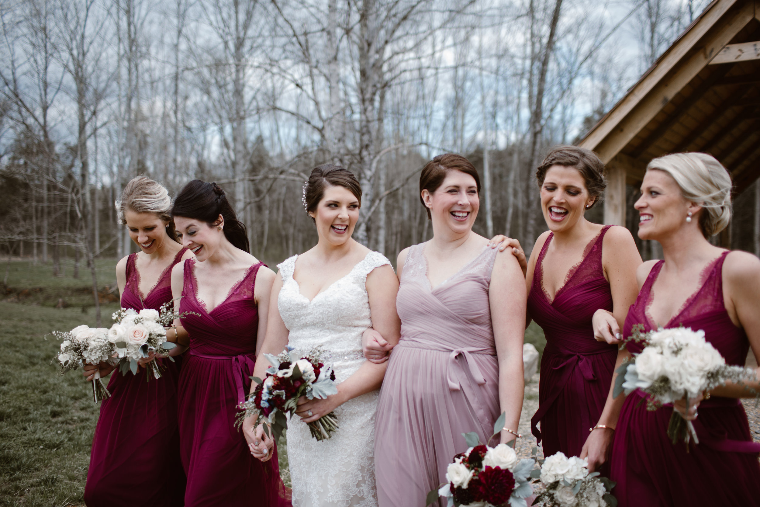 Maroon bridesmaid Dresses - A Burgundy + Bronze Ramble Creek Fall Wedding - Erin Morrison Photography