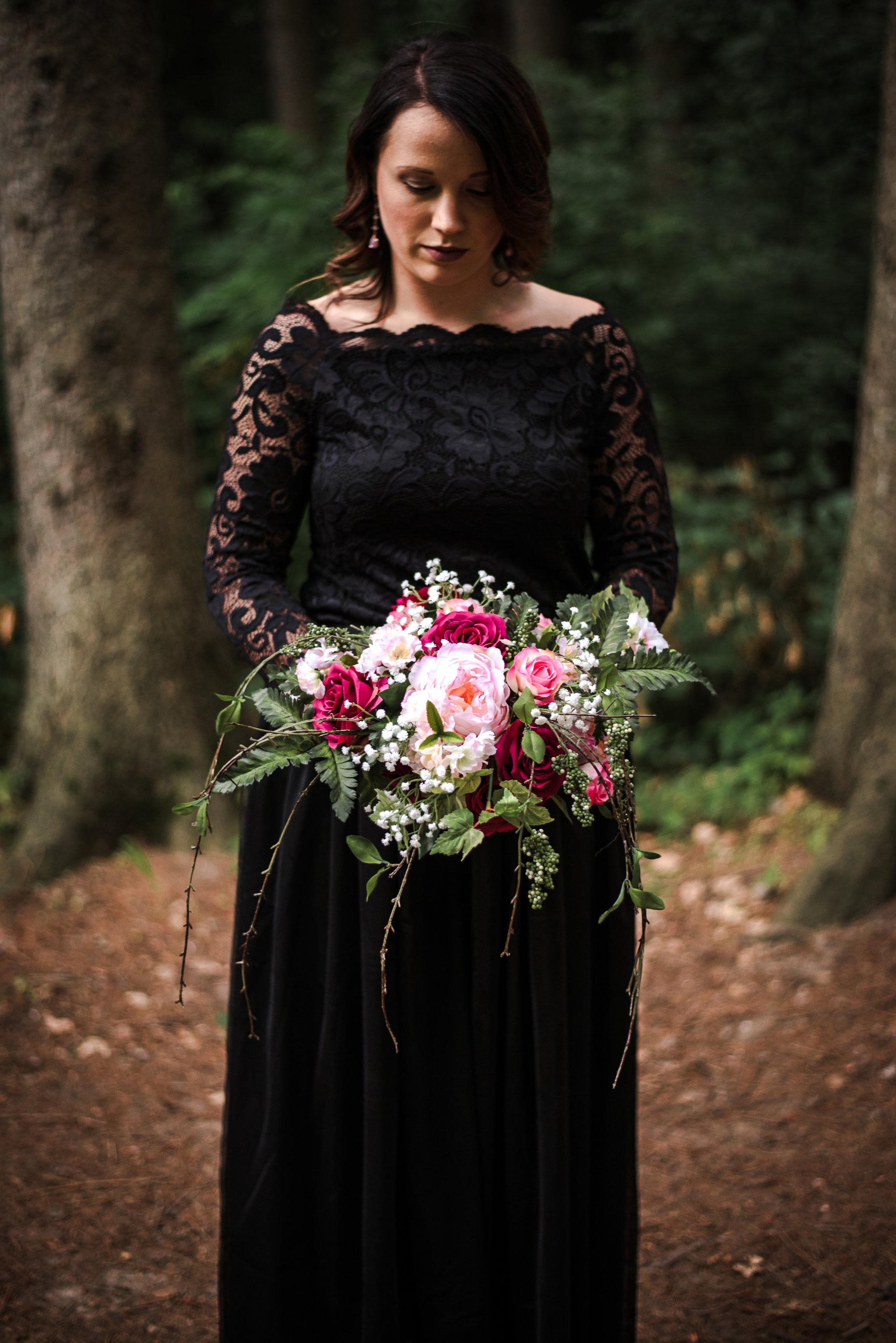 Moody Wedding - Black Lace Wedding Dress - Moody Pink + White Wedding Bouquet -- Wedding Blog - The Overwhelmed Bride