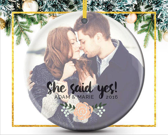 Newly Engaged + Just Married Christmas Ornaments