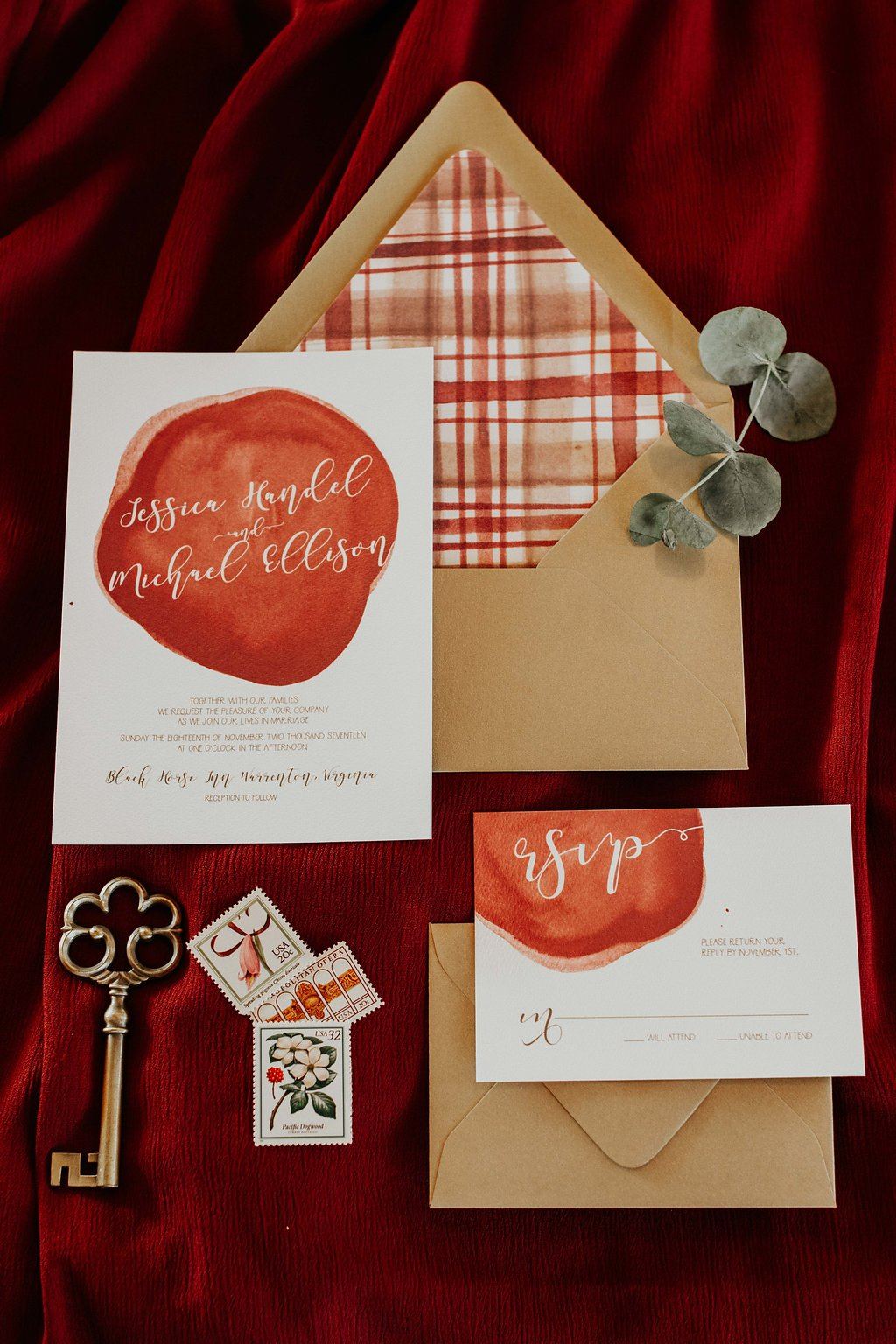 Gold + Red Wedding Invitation - Black Horse Inn Virginia Wedding - Northern Virginia Wedding Photographer - Gorgeous Moody Red and Gold Wedding