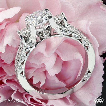 Unique Classic 3 Stone Crescent Pave Engagement Ring - White Flash -- Wedding Blog - The Overwhelmed Bride