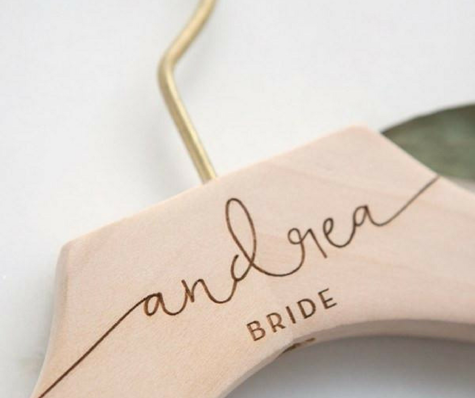 Bride-Bridesmaid Wooden Engraved Hangers - Custom Wire Bridesmaid Hangers -- Lucky Maiden