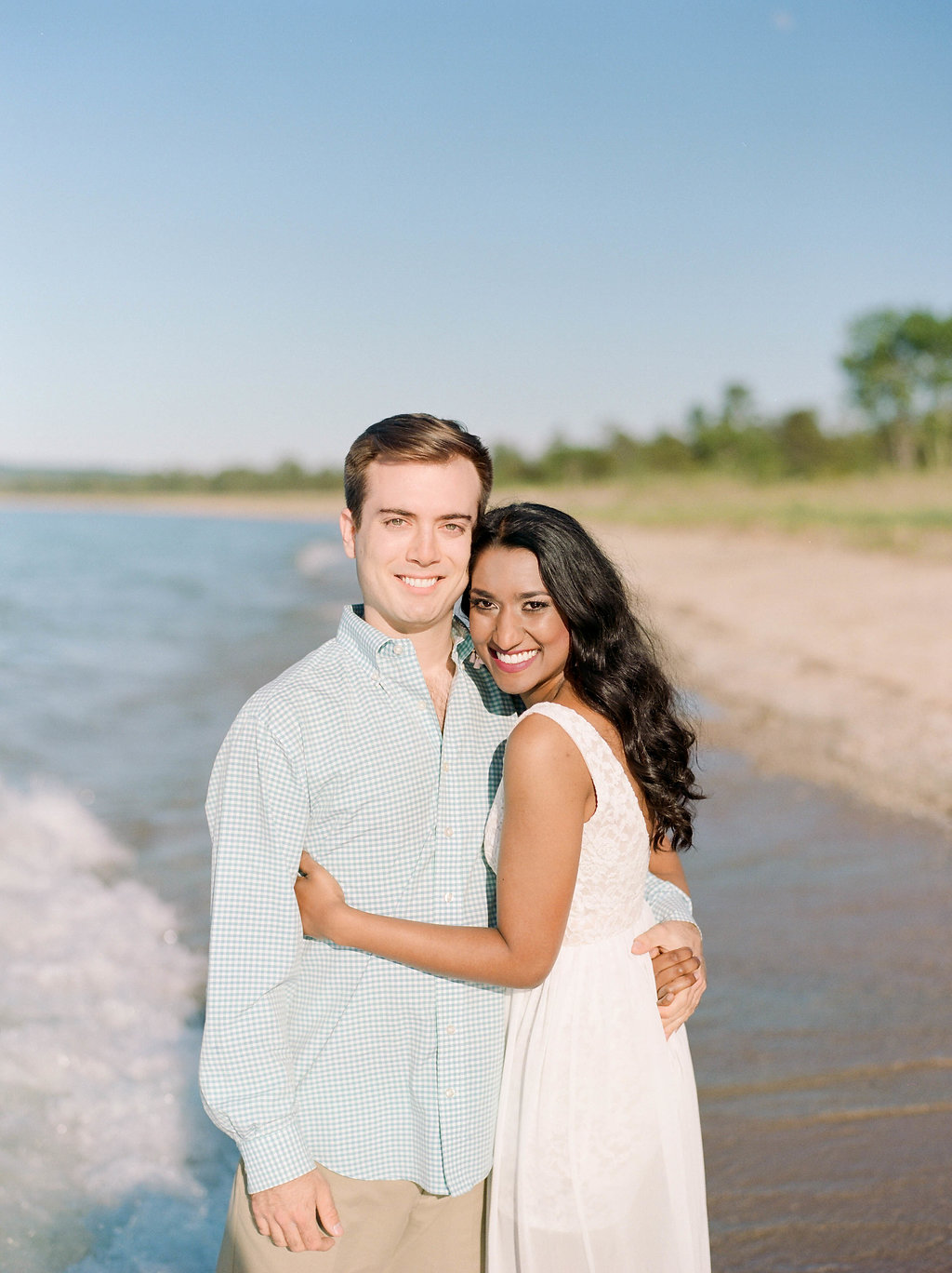 A Northern Michigan Sunset Beach Engagement Photos -- Michigan Wedding Photographer - Wedding Inspiration