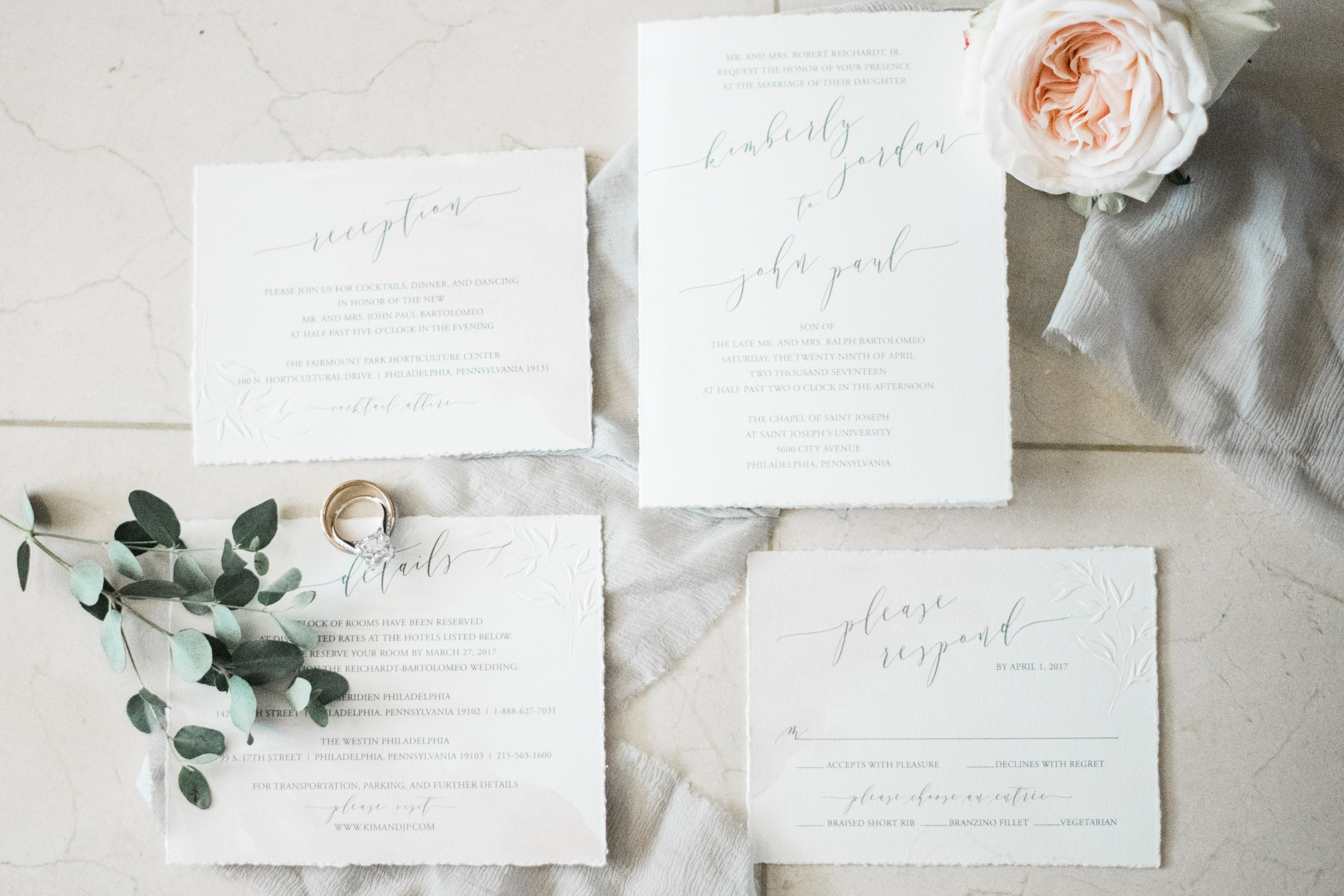 Simple Calligraphy Wedding Invitations - Pennsylvania Private Estate Wedding