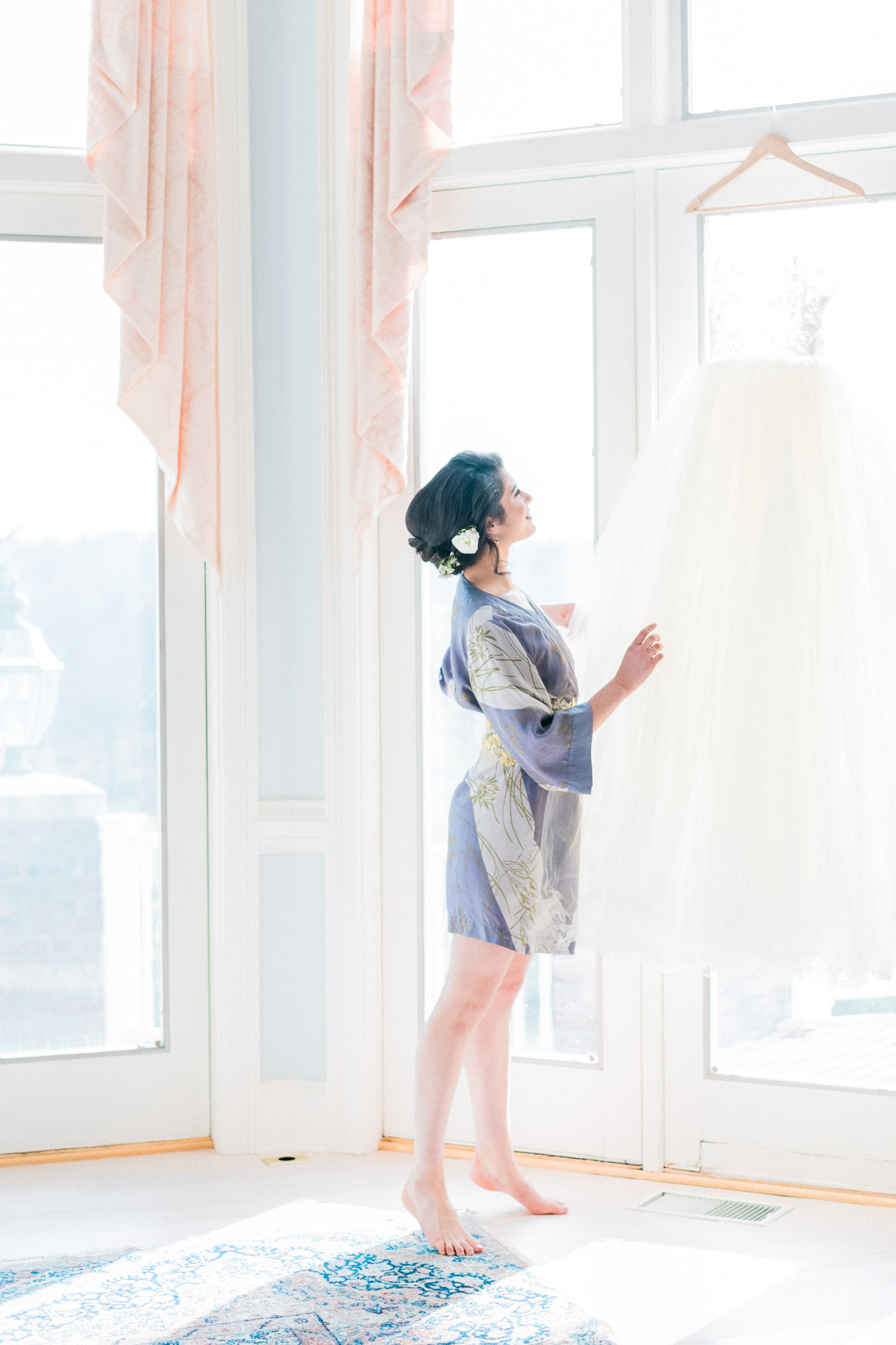 Dusty Blue Bridal Robe - Pennsylvania Private Estate Wedding
