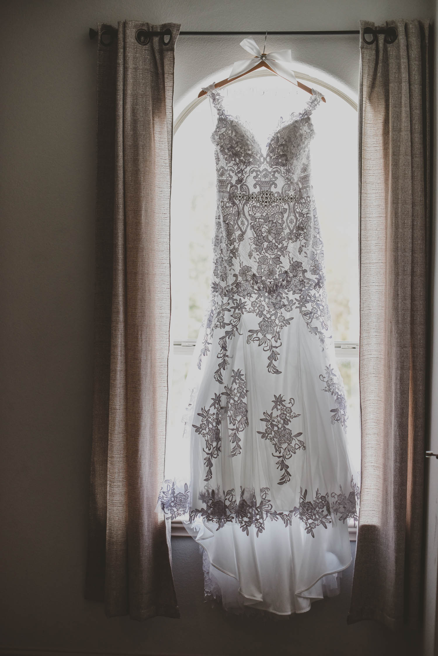 Embroidered Mermaid Wedding Dress - Downtown Dallas Wedding Venue - El Fenix Wedding