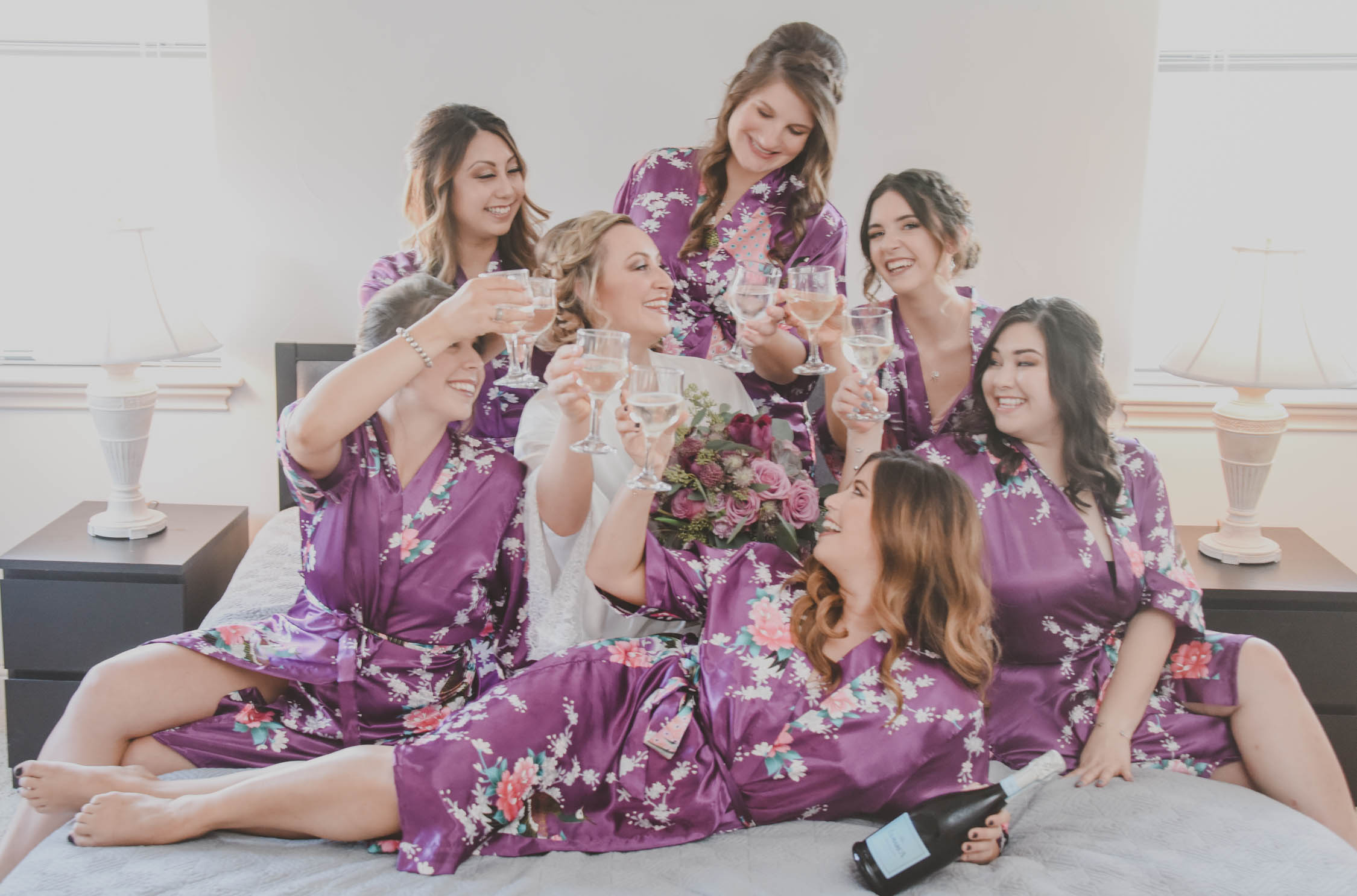 Purple Bridesmaid Robes - Downtown Dallas Wedding Venue - El Fenix Wedding
