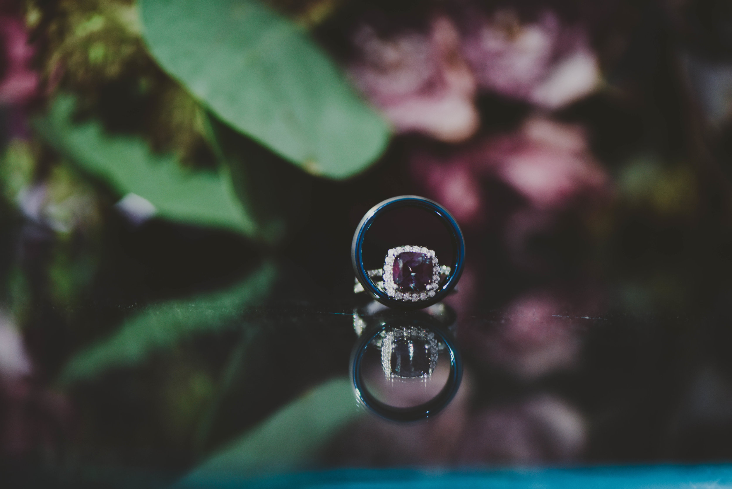 Purple Halo Engagement Ring - Downtown Dallas Wedding Venue - El Fenix Wedding
