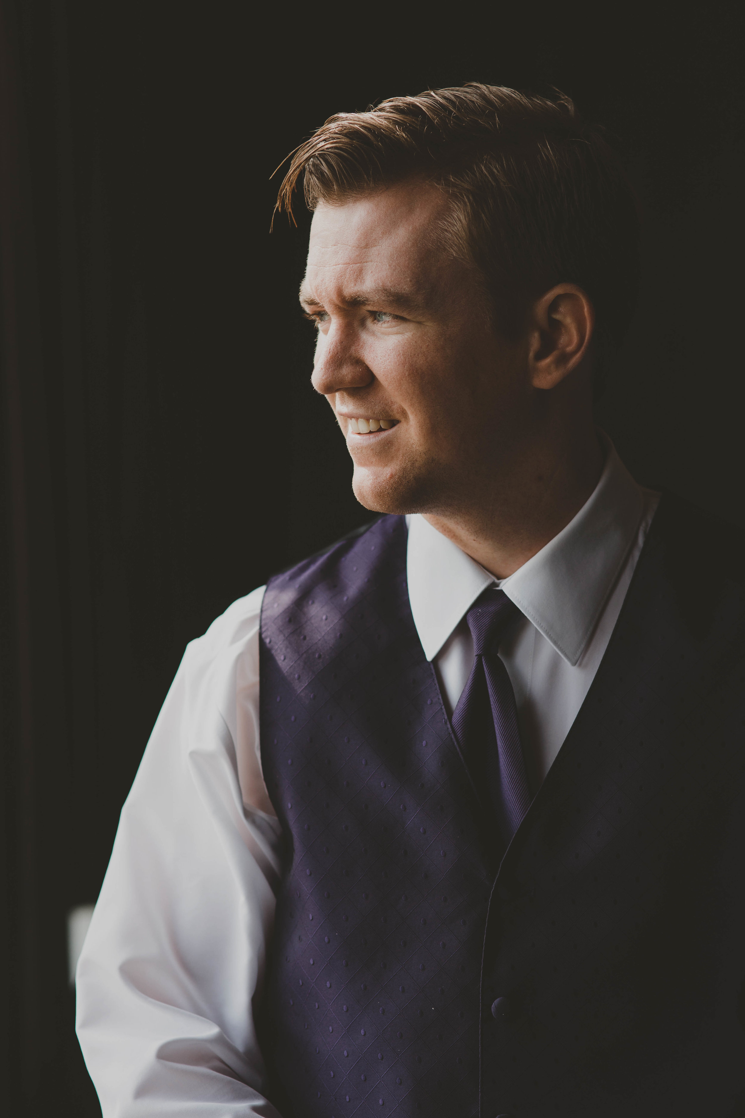 Purple Groom Attire - Downtown Dallas Wedding Venue - El Fenix Wedding
