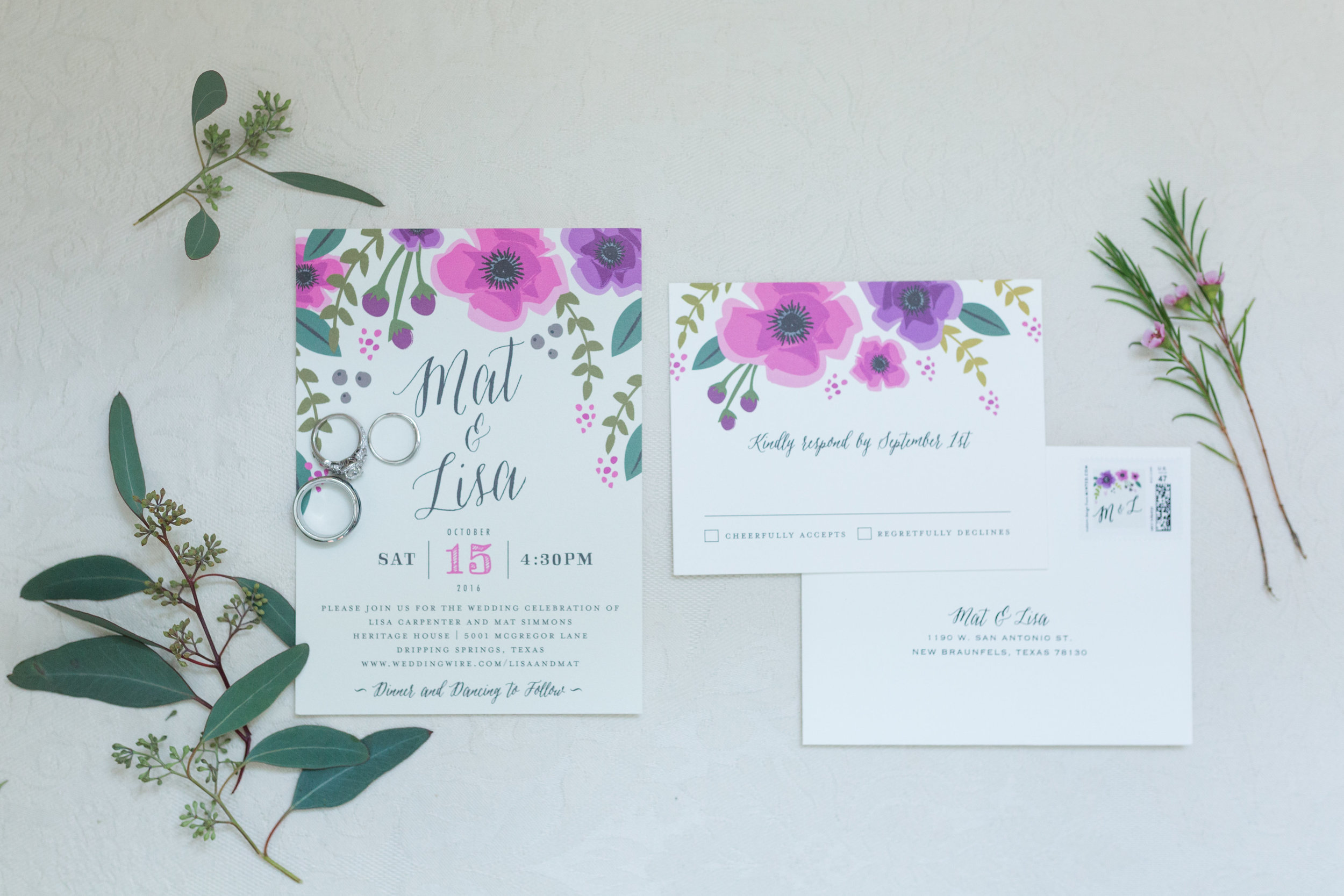 Floral Watercolor Wedding Invitations - Heritage House - Georgetown, Texas Wedding Venue
