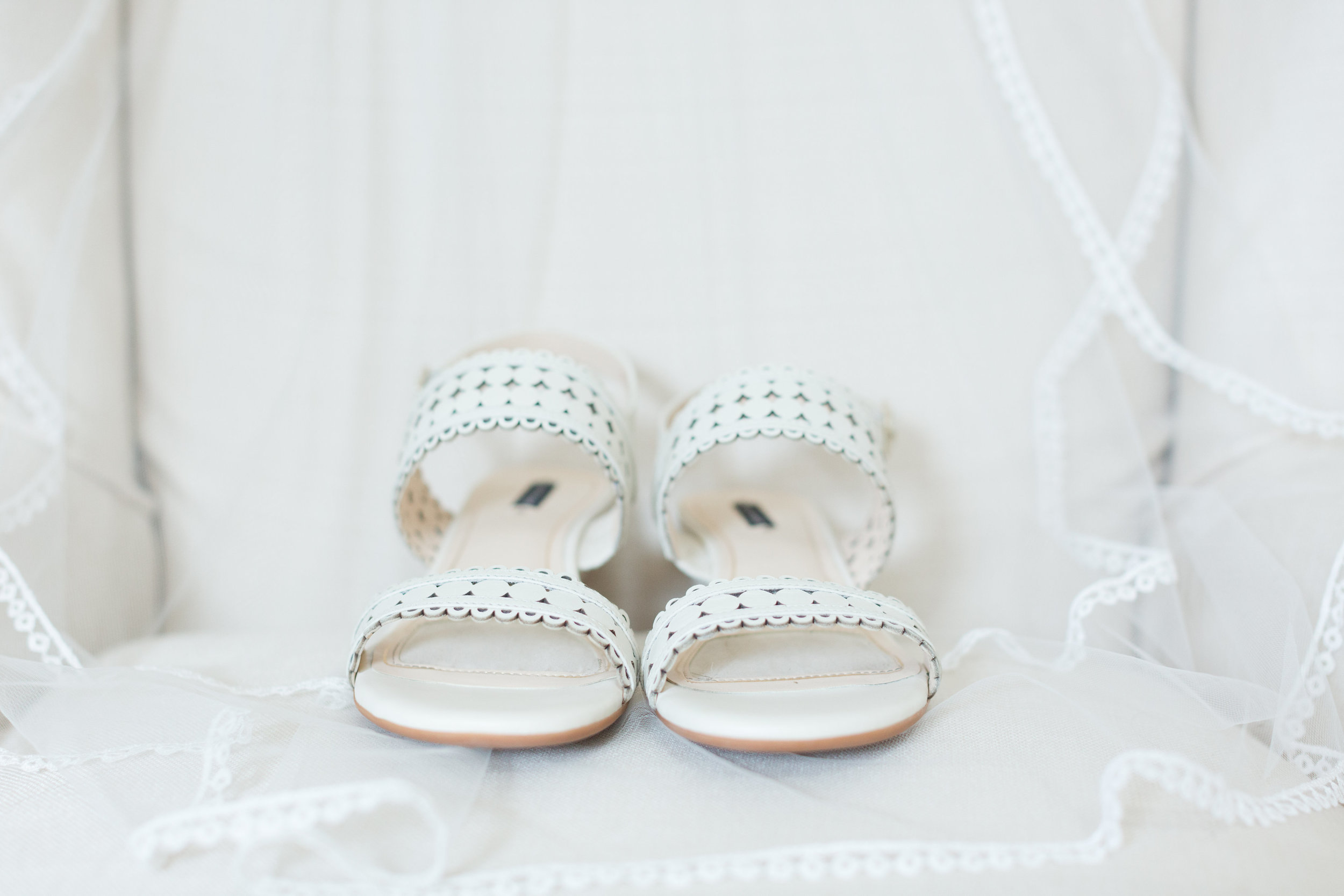 White Strappy Bridal Heels - Heritage House - Georgetown, Texas Wedding Venue