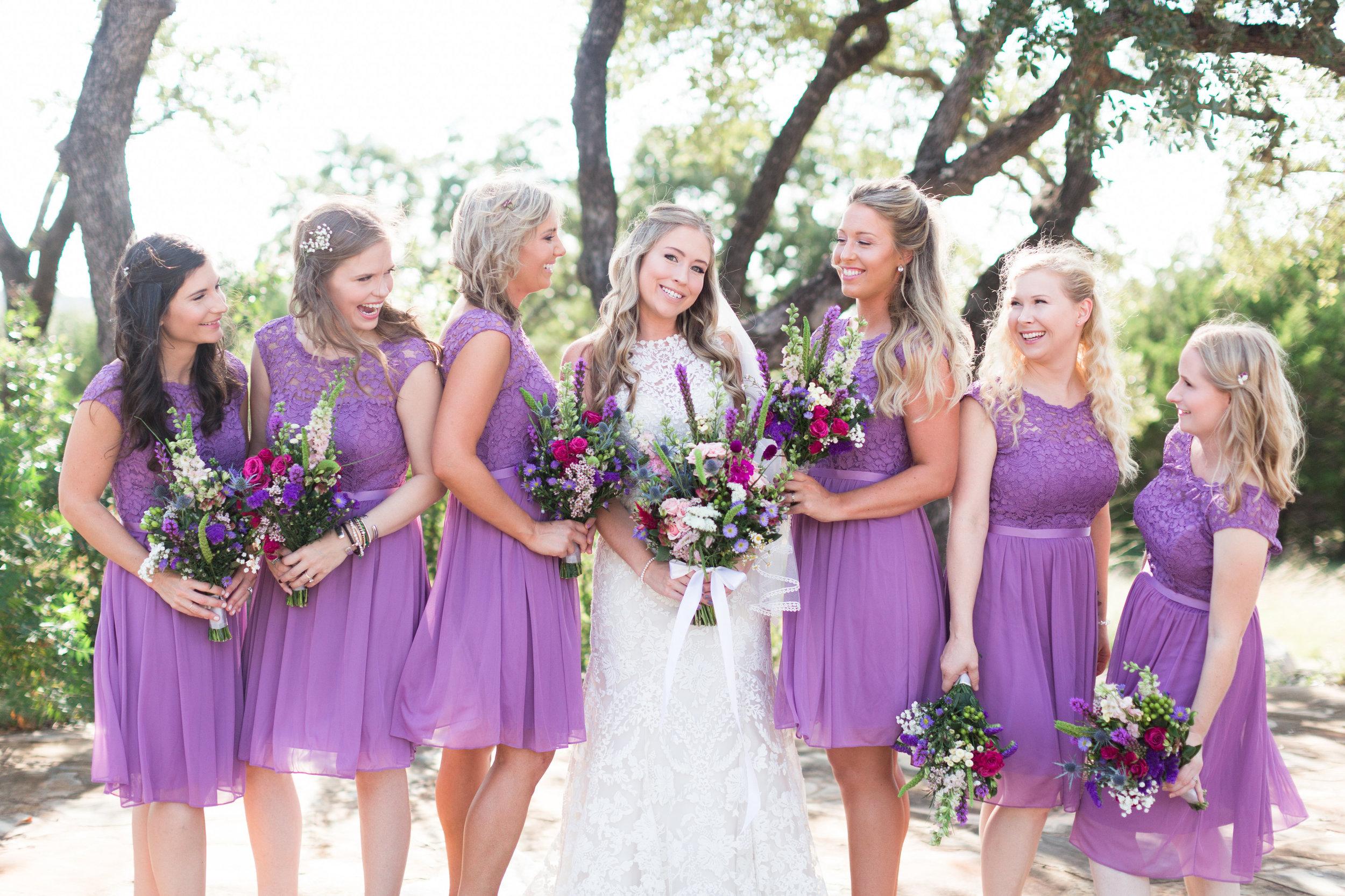 Lace Wedding Dress - Purple Bridesmaid Dresses - Heritage House Wedding - Georgetown, Texas Wedding Venue