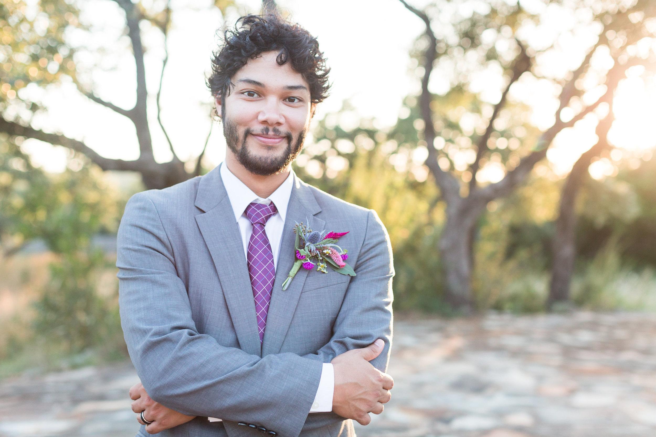 Purple Groom's Tie  - Heritage House Wedding - Georgetown, Texas Wedding Venue