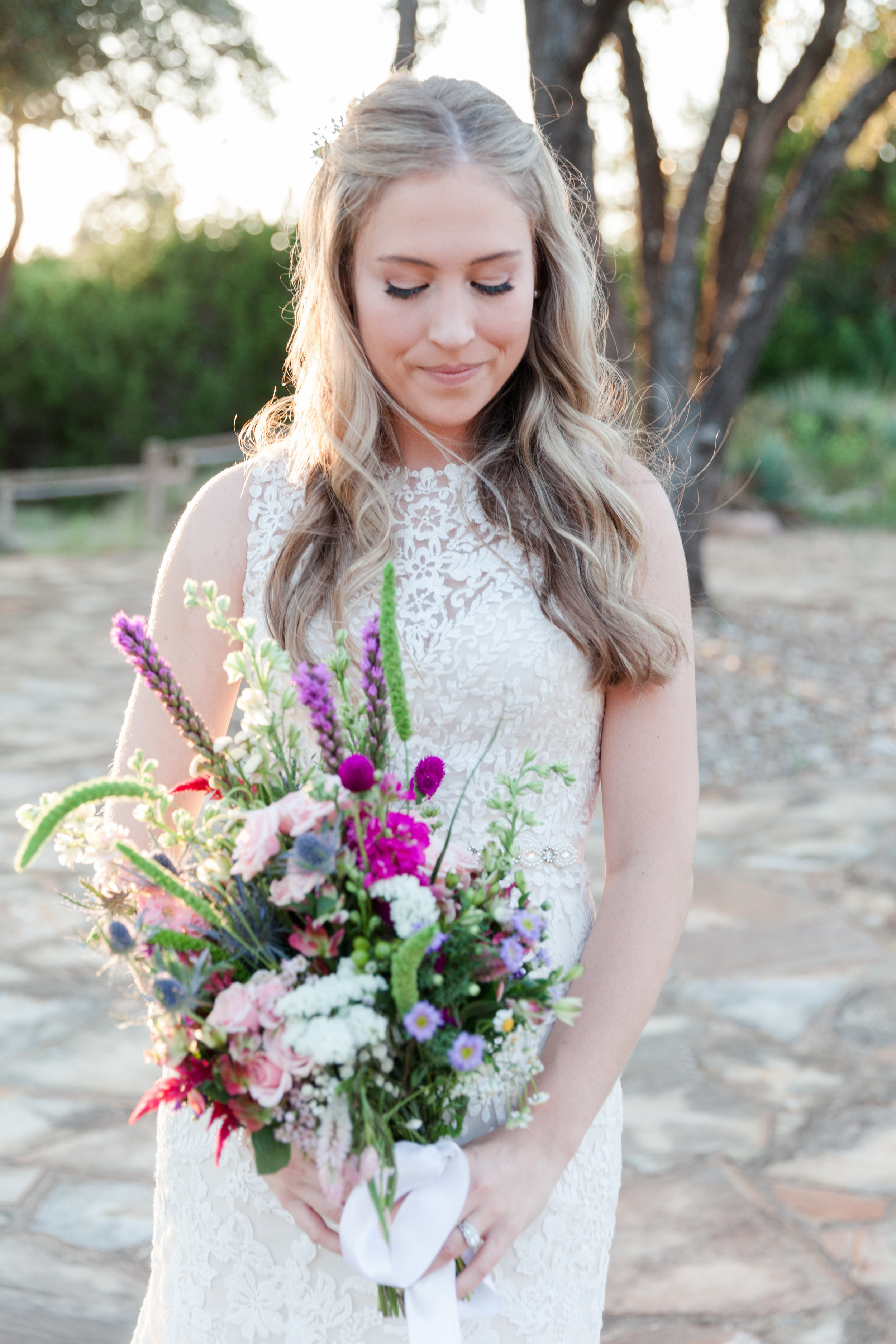 Colorful Wildflower Bridal Bouquet - Heritage House Wedding - Georgetown, Texas Wedding Venue