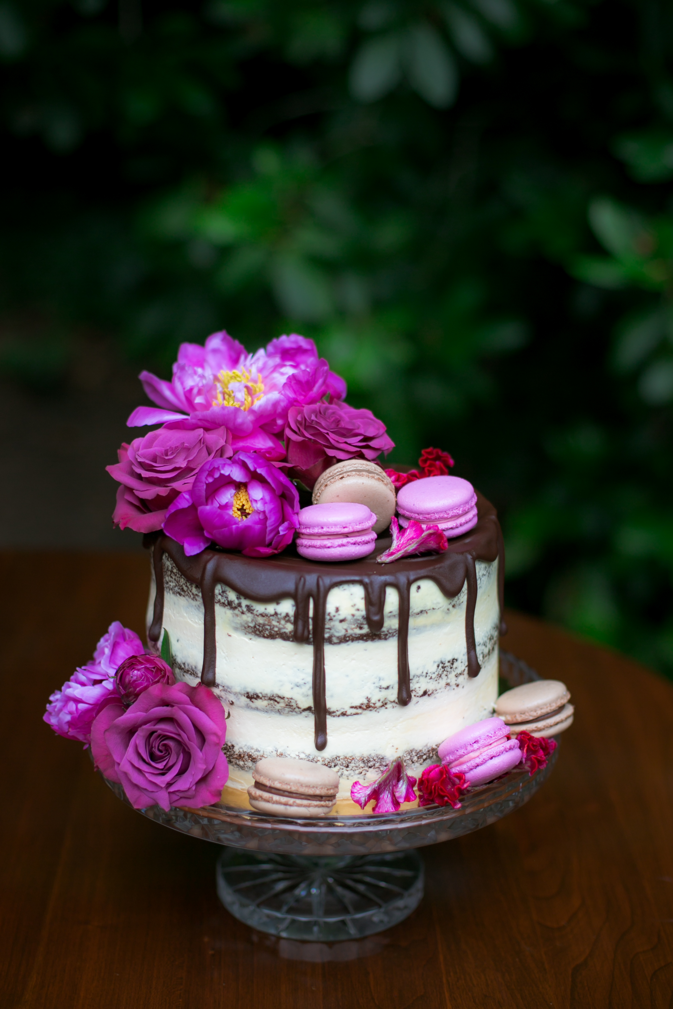 Chocolate Dripped Naked Wedding Cake with Macarons - Colchester, Connecticut Wedding Photographer
