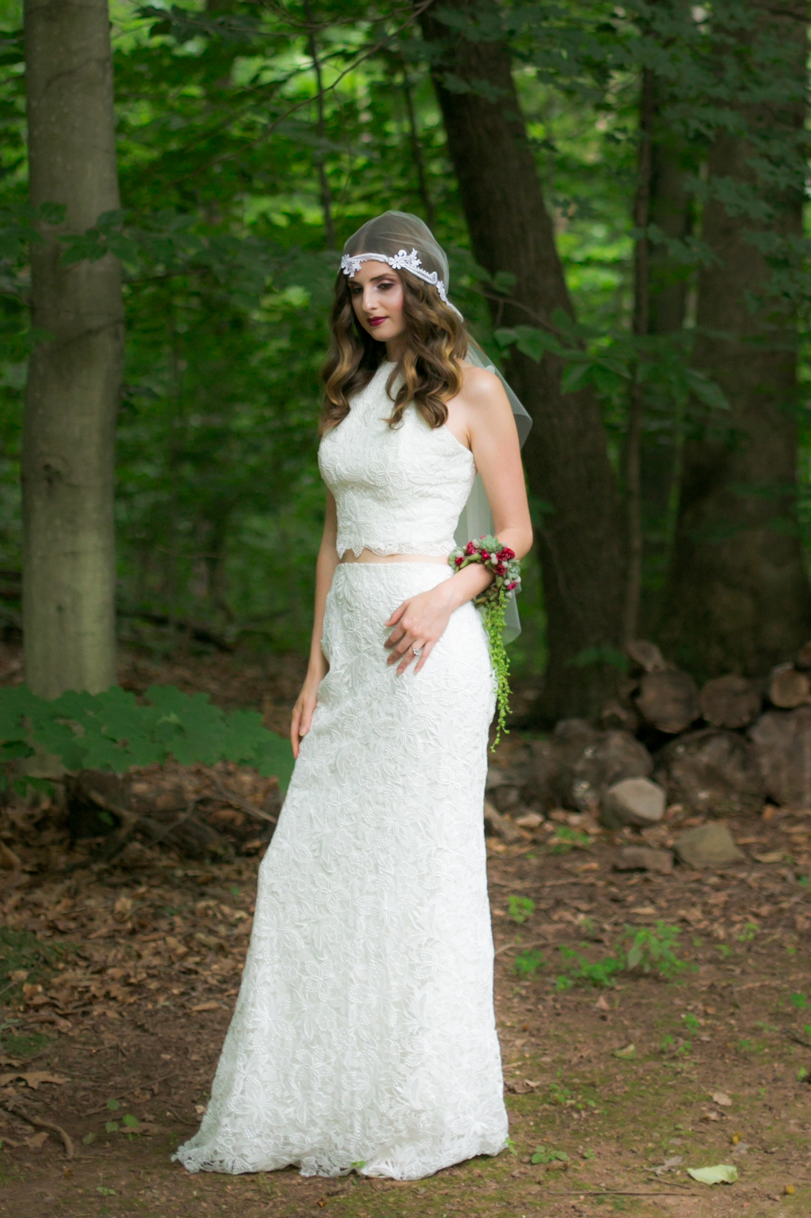 Bridal Separates - 2 Piece Lace Wedding Dress - Colchester, Connecticut Wedding Photographer
