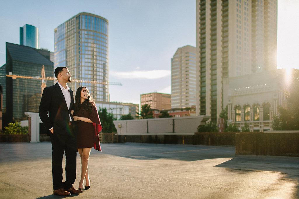 Downtown Houston Engagement Photos