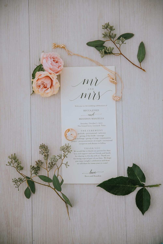 Simple Wedding Invitations - The Grand Ivory Wedding - Leonard, Texas Wedding Venue