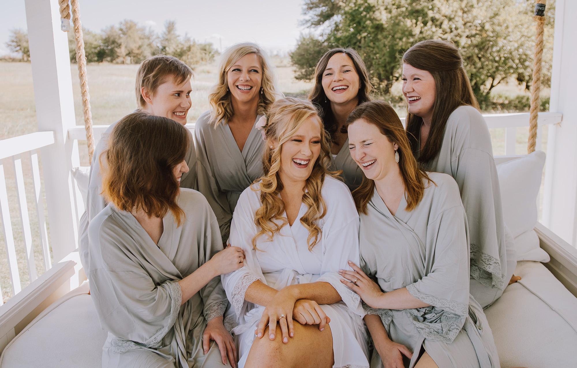 Grey Bridesmaid Robes - The Grand Ivory Wedding - Leonard, Texas Wedding Venue